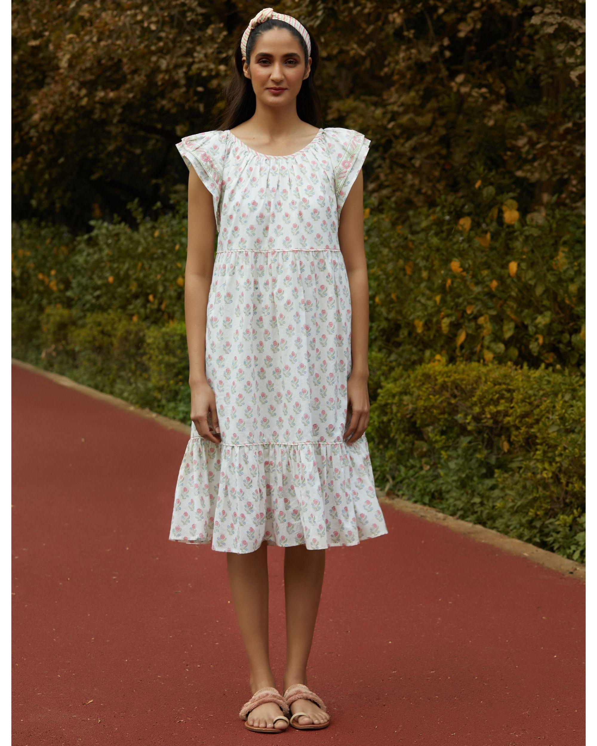 White printed ruffle dress