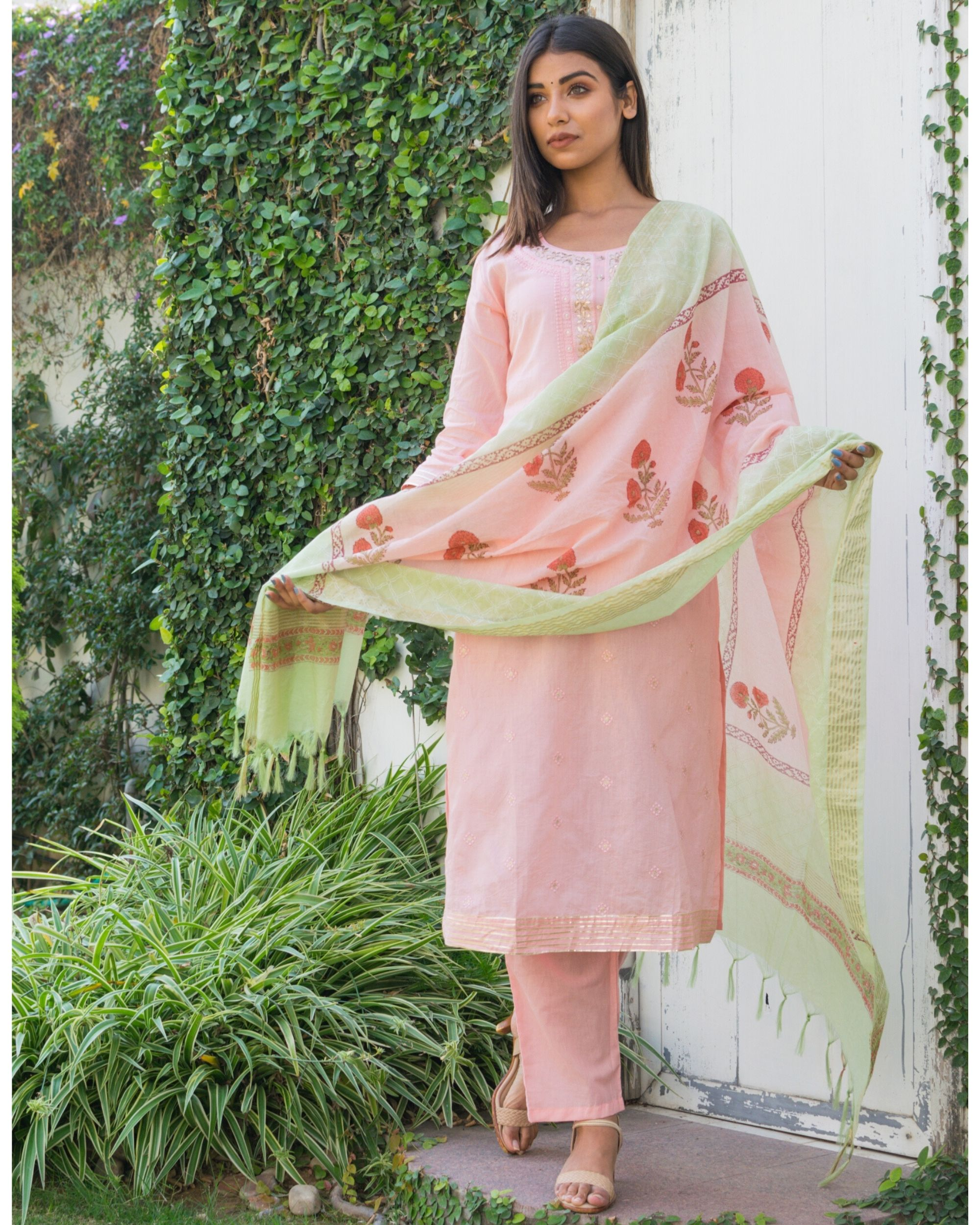 Pink embroidered kurta and pants with printed dupatta- Set Of Three