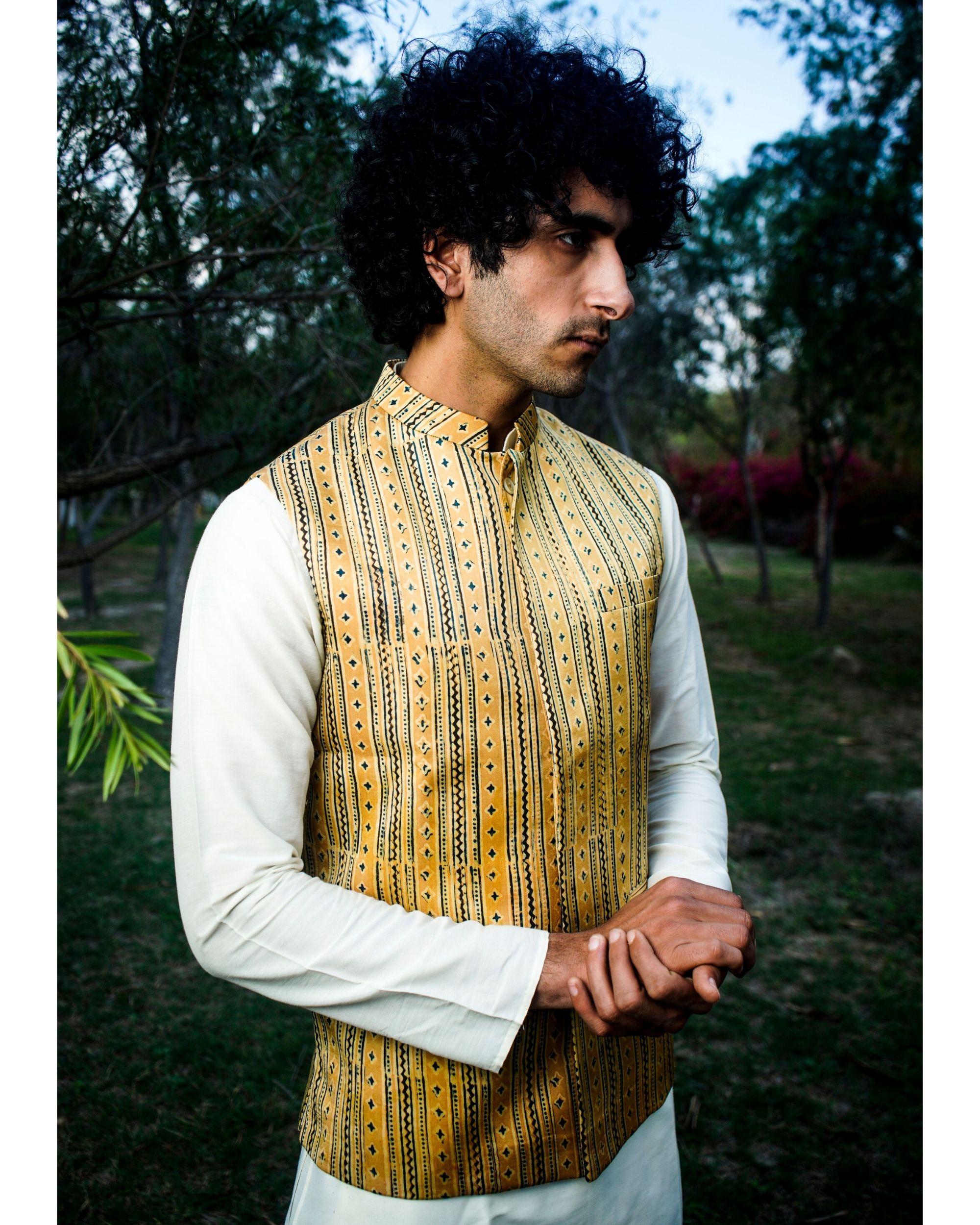 Mustard yellow printed nehru jacket