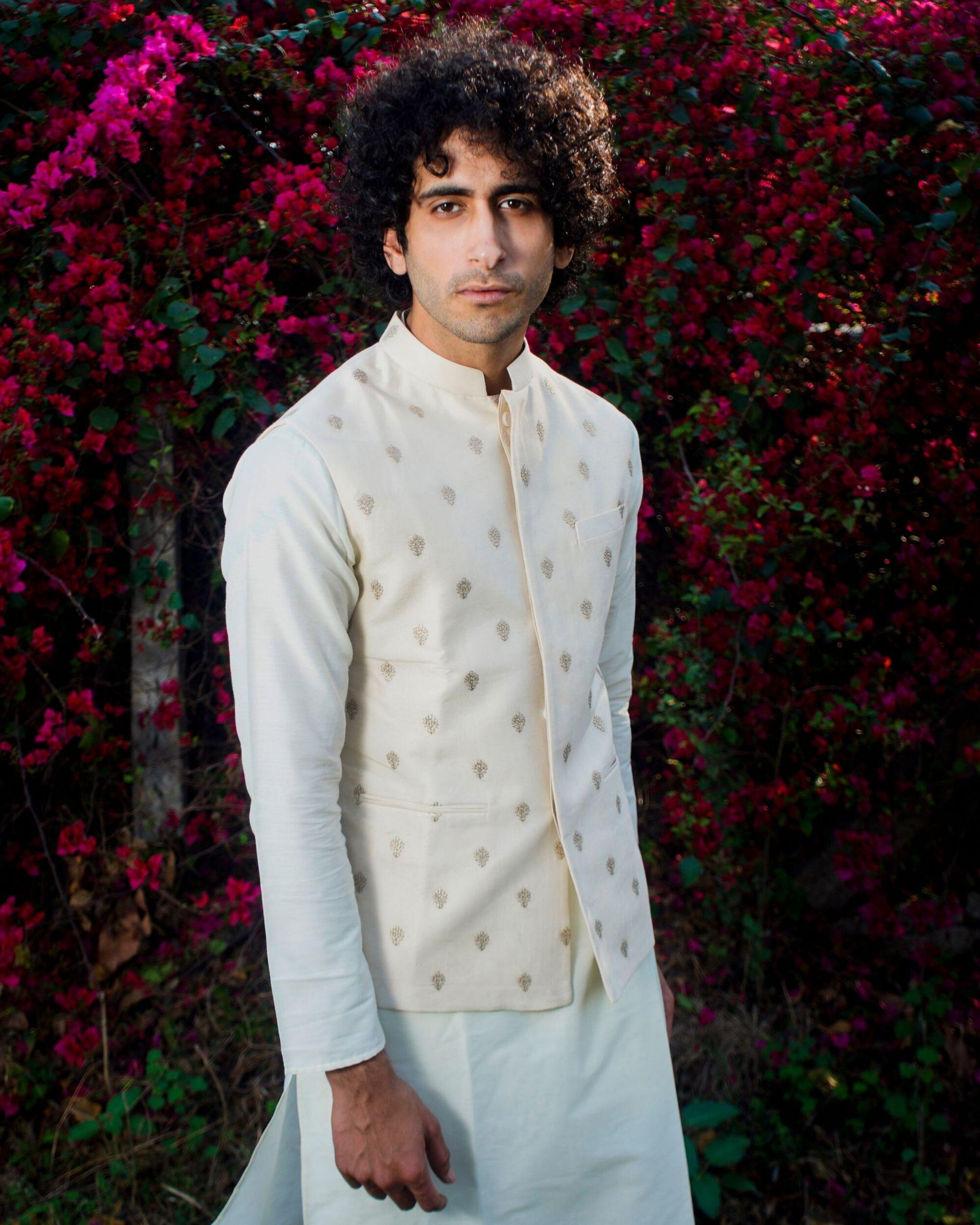 Beige and gold motif nehru jacket