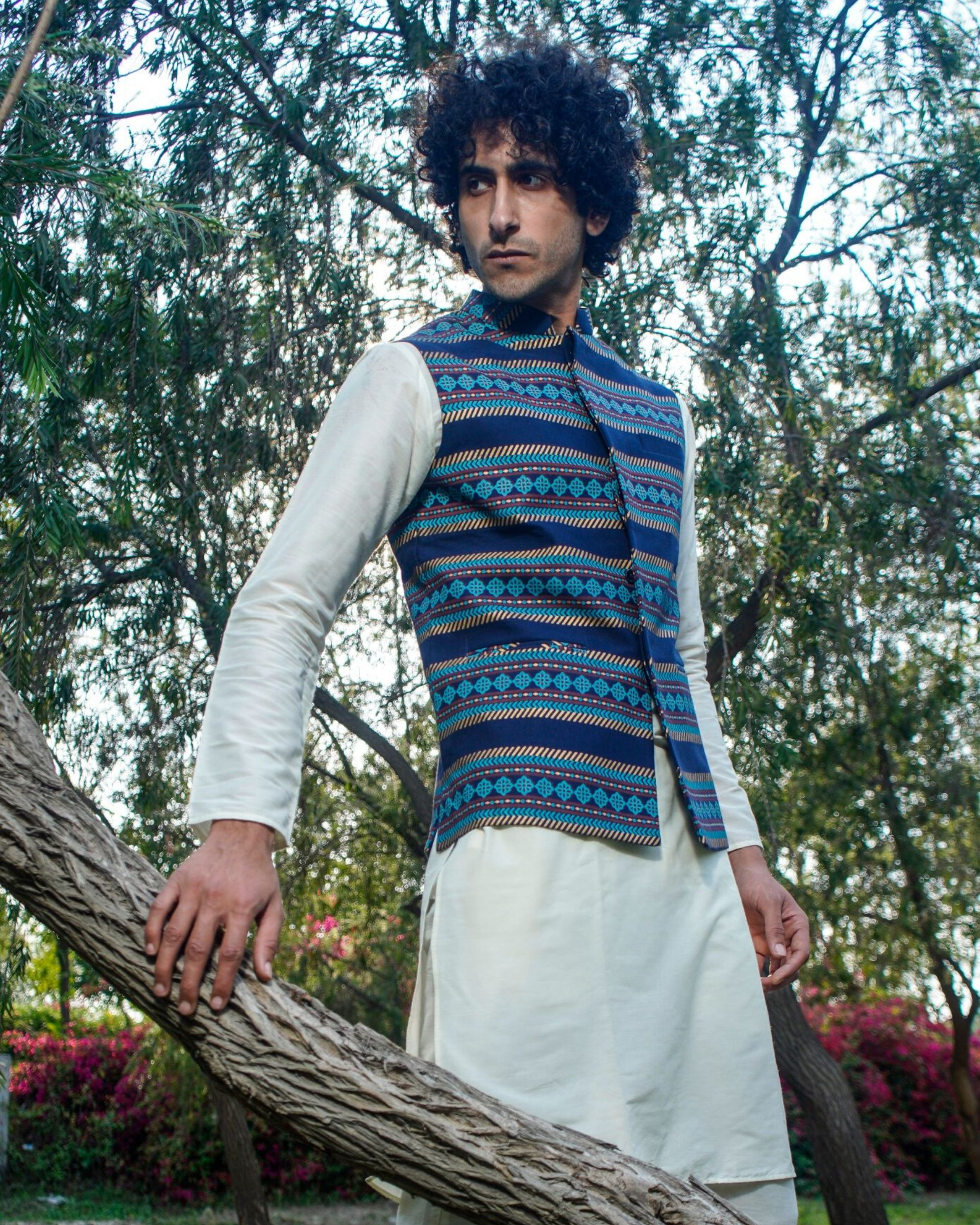 Navy blue floral striped nehru jacket