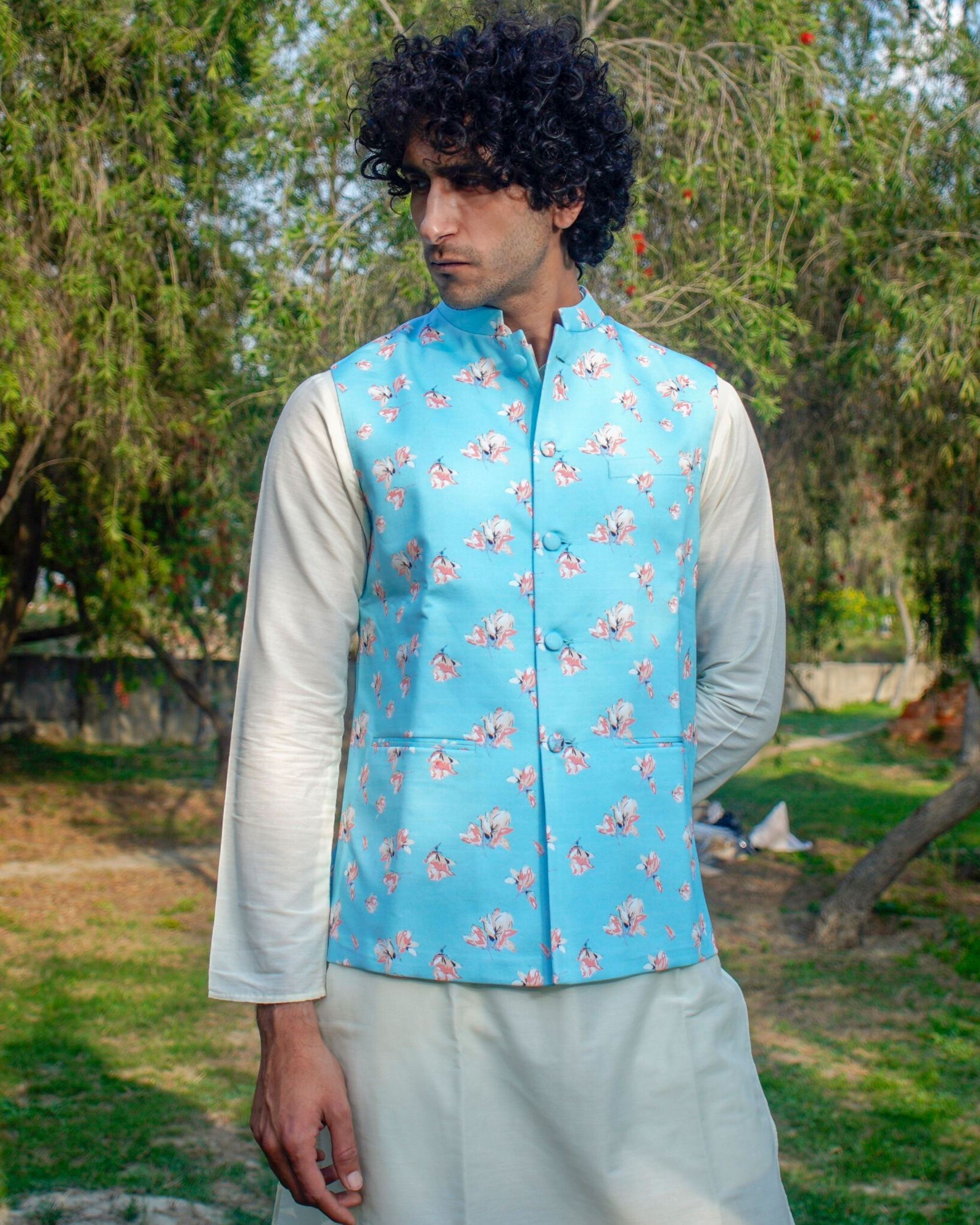 Light blue floral printed nehru jacket