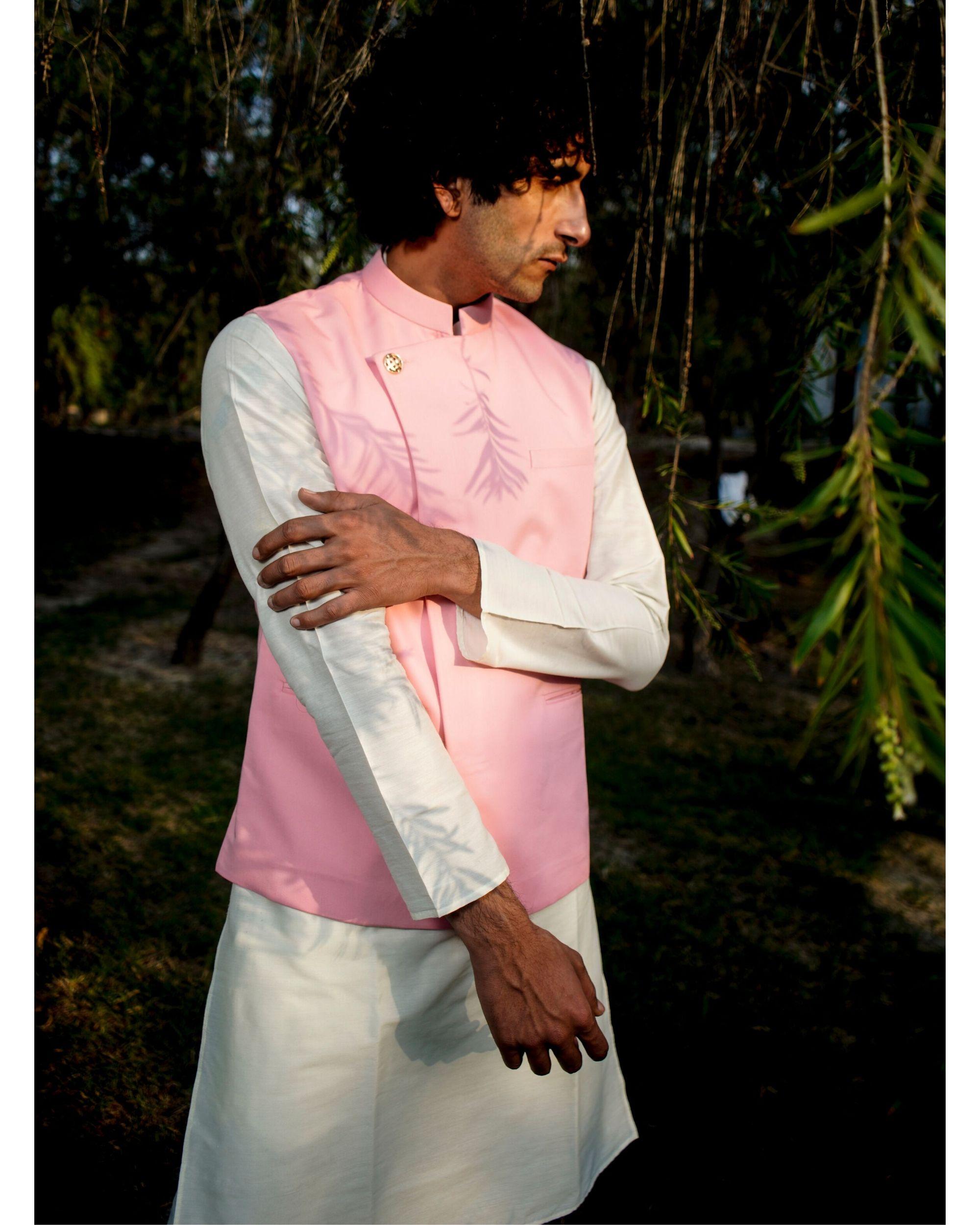 Light pink asymmetrical nehru jacket