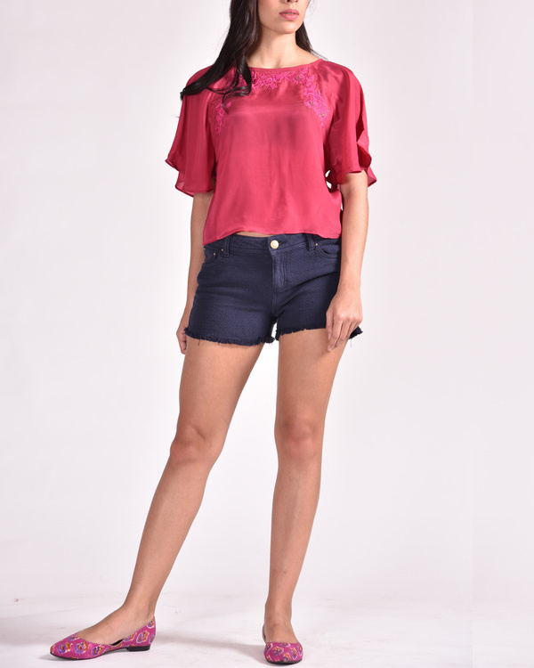 Magenta butterfly top