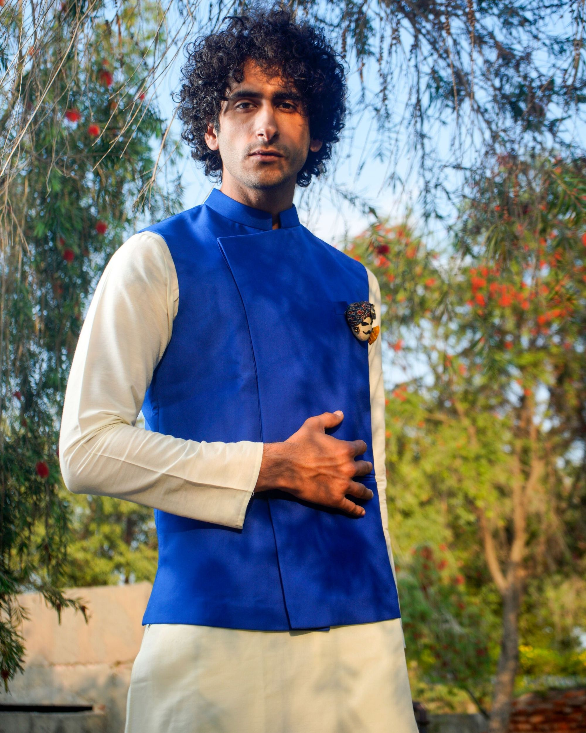Royal blue asymmetrical nehru jacket