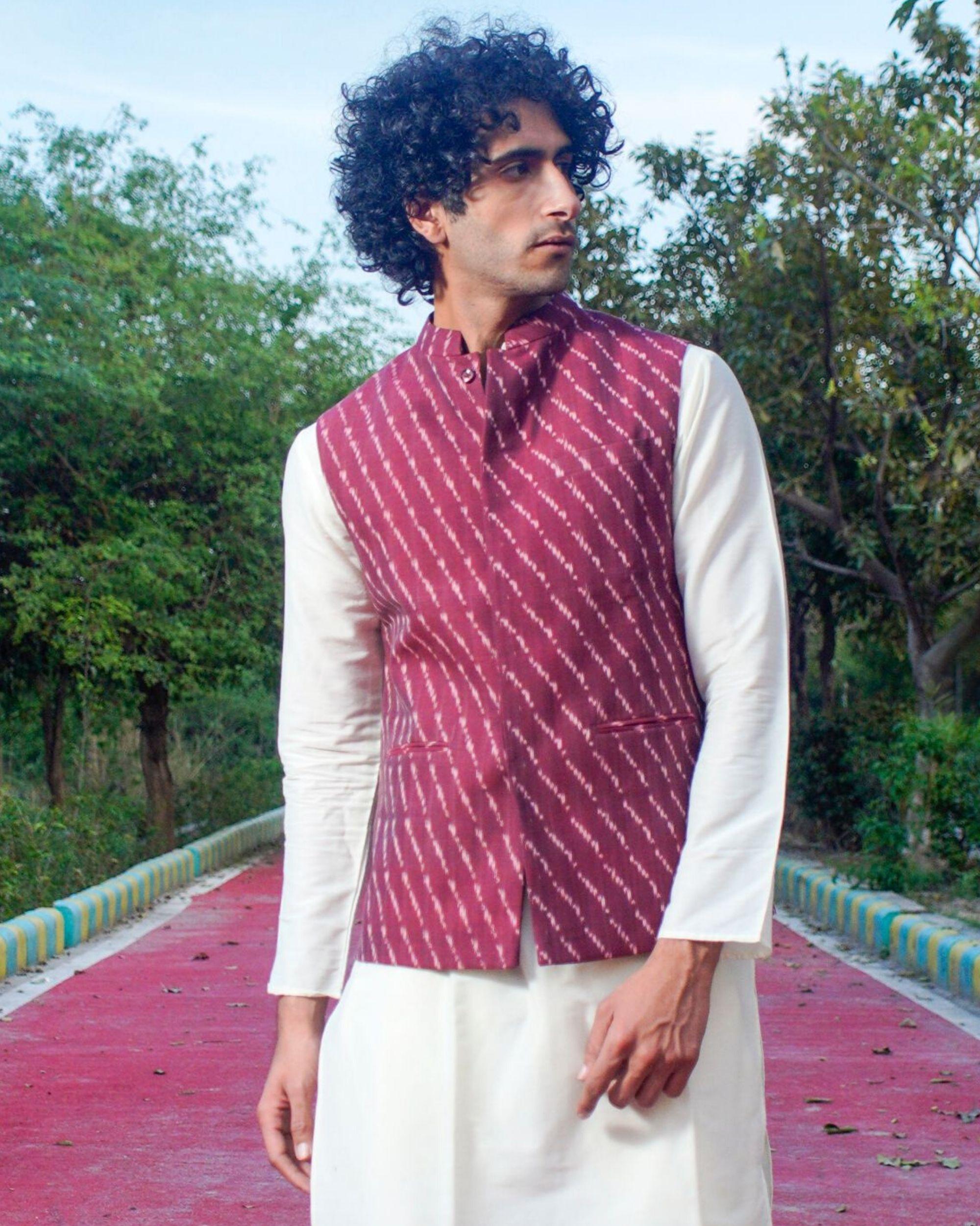 Maroon printed nehru jacket