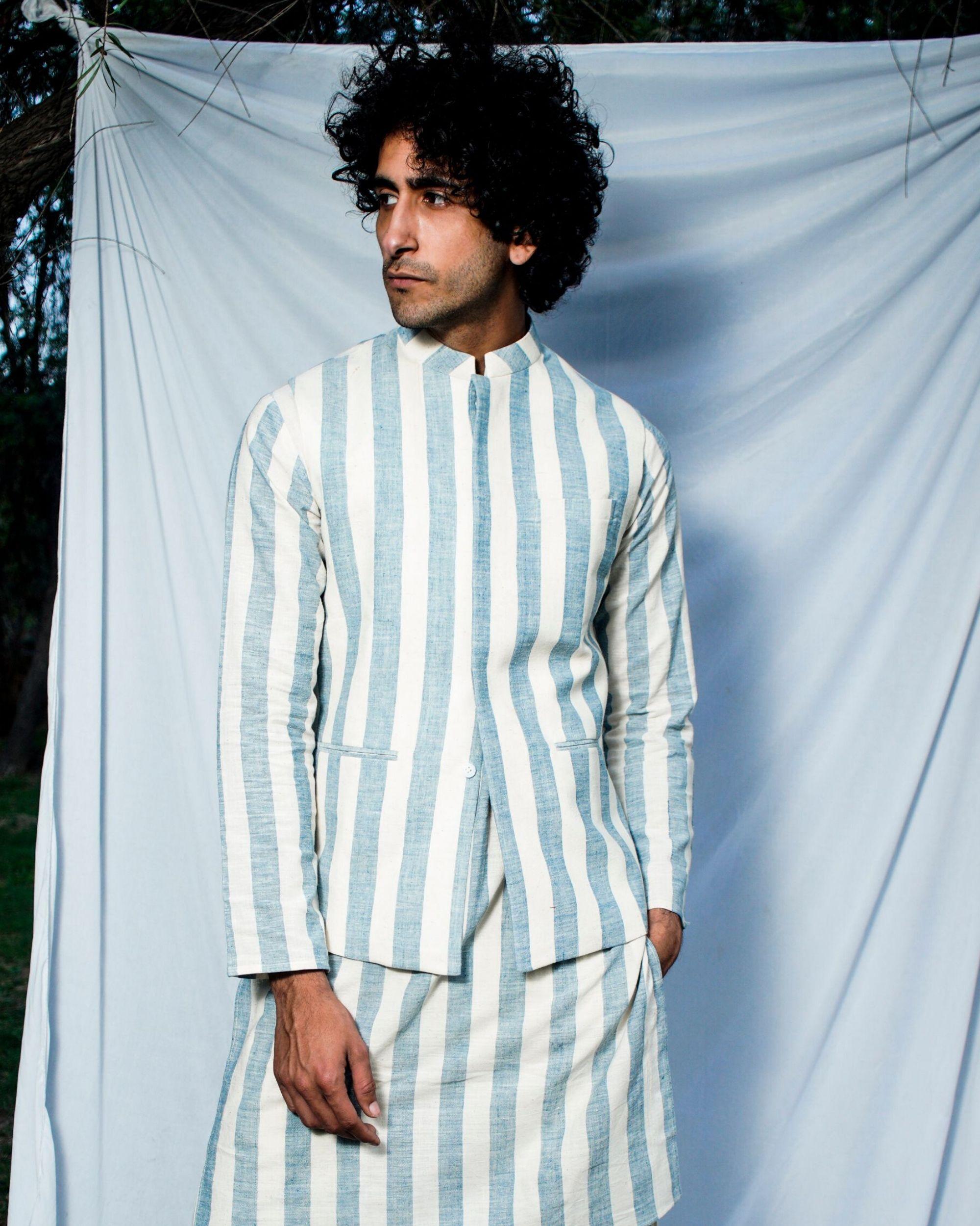 Blue and white striped nehru jacket