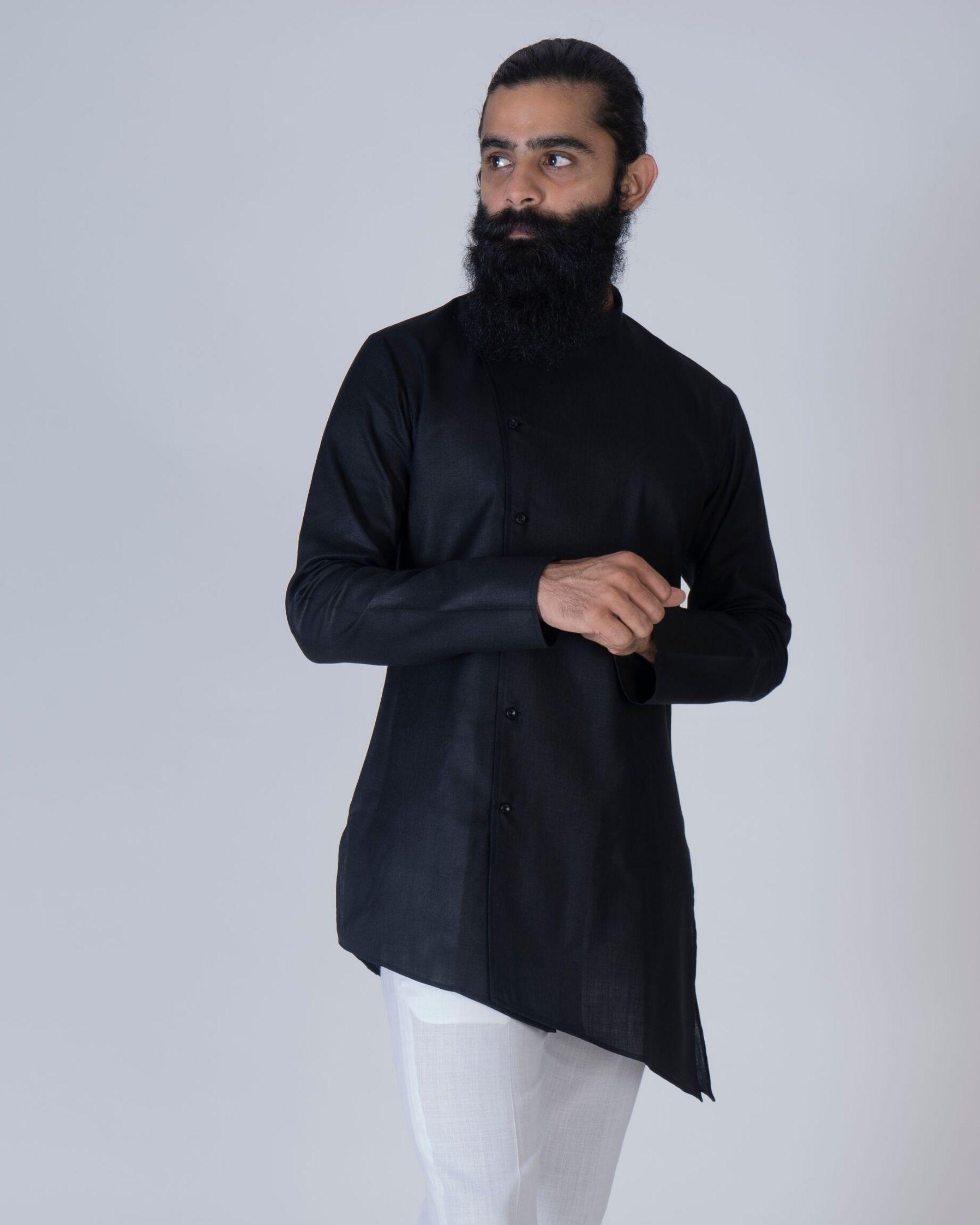 Black short asymmetrical kurta