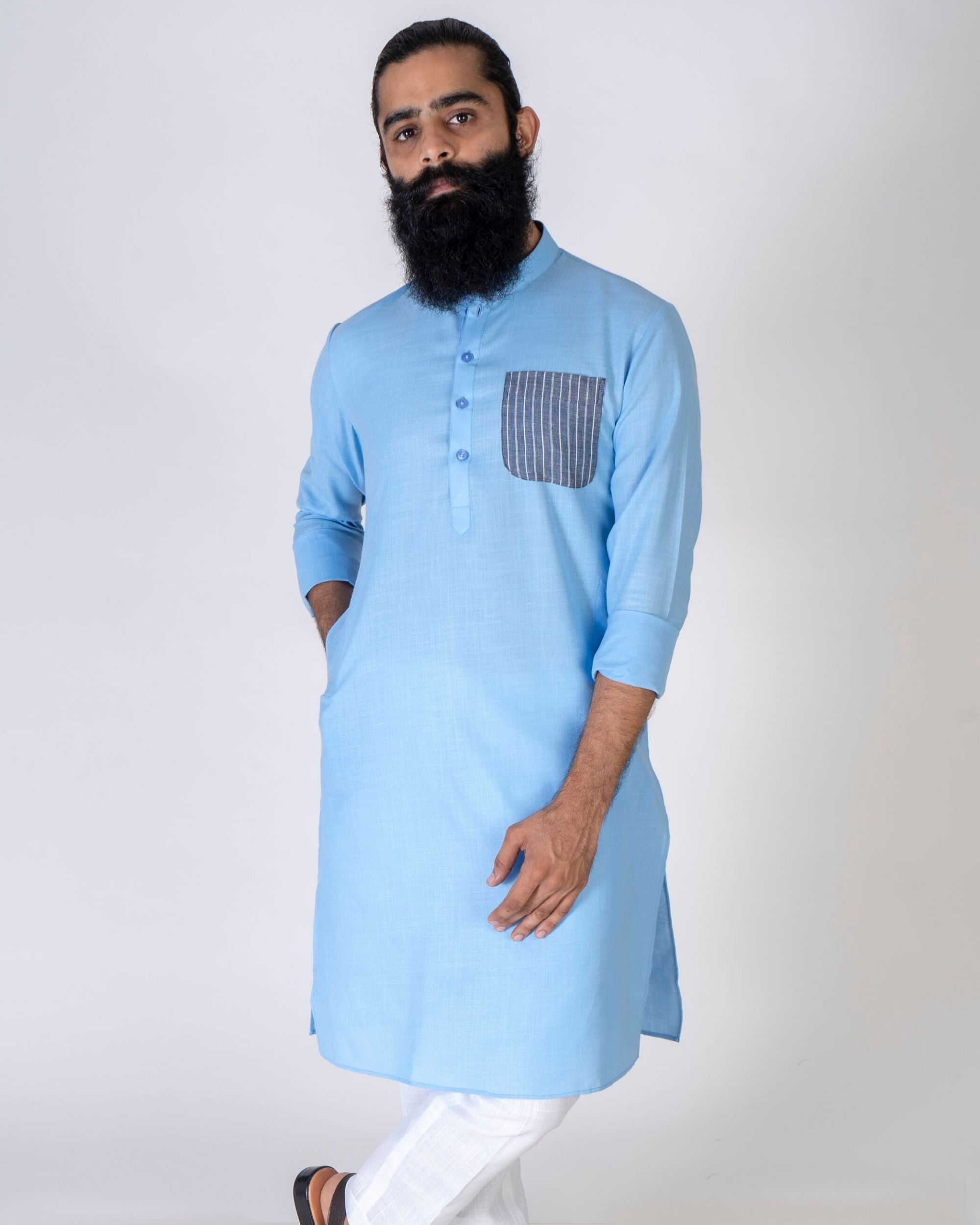 Blue patch pocket kurta