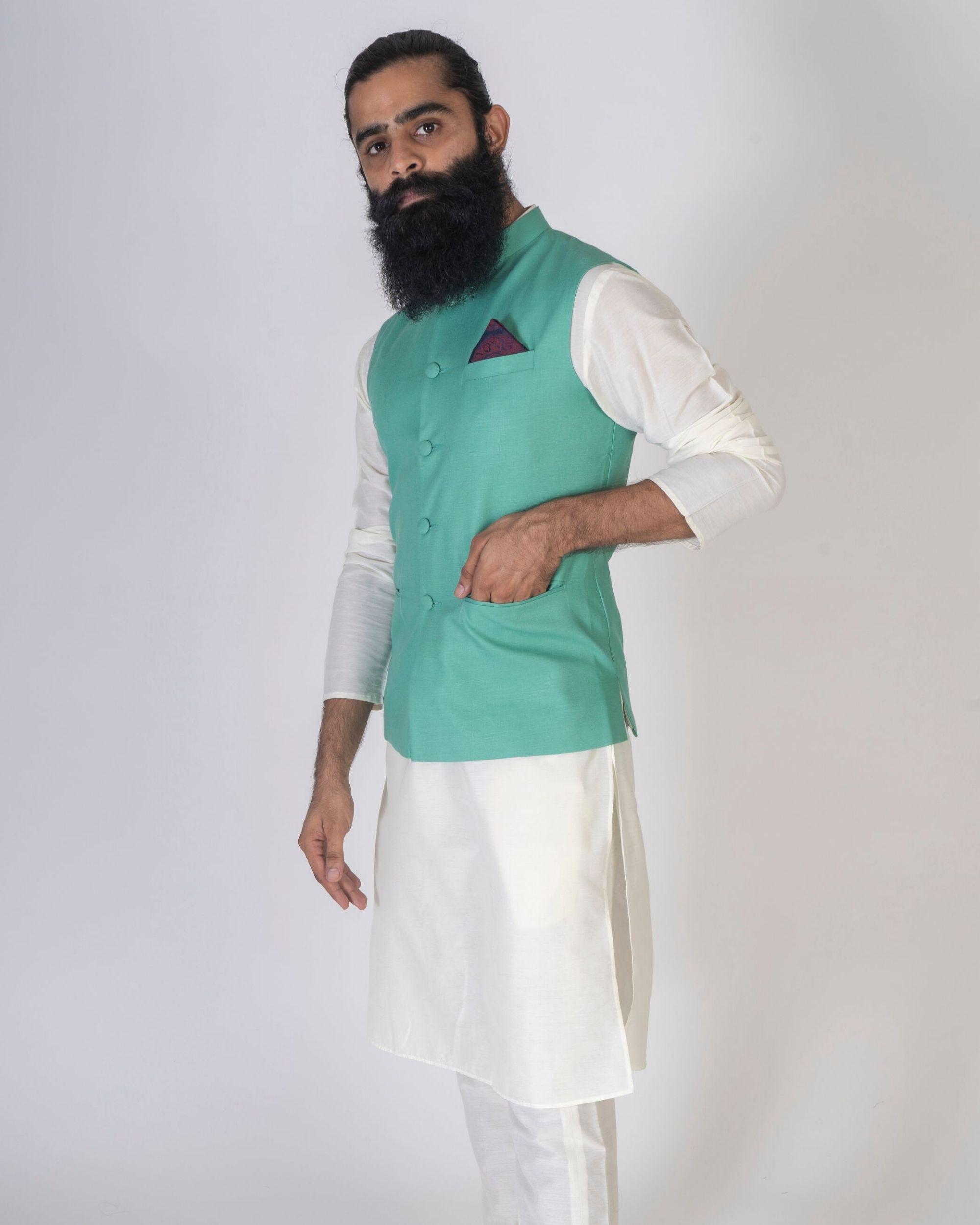 Green mandarin nehru jacket