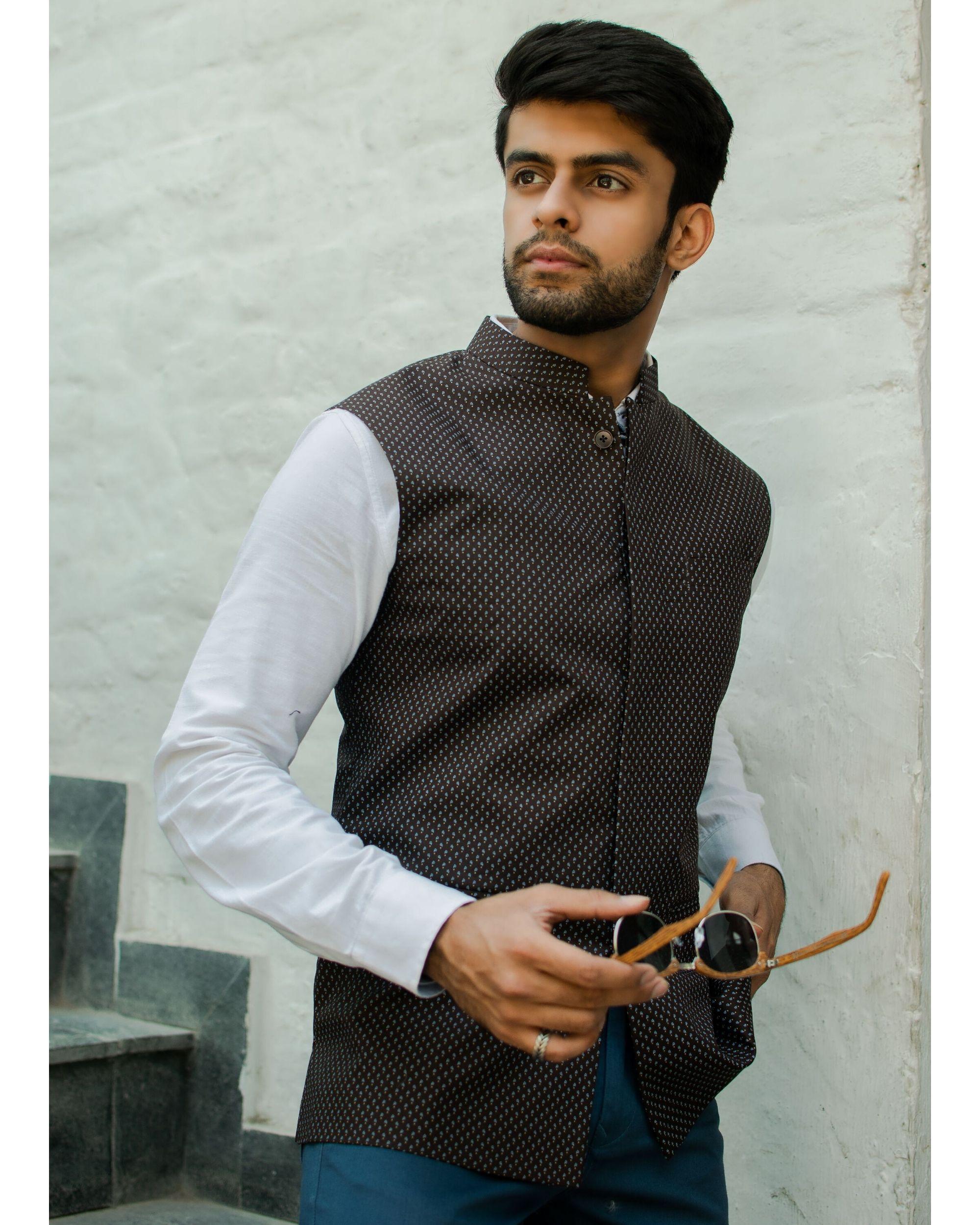 Brown printed nehru jacket