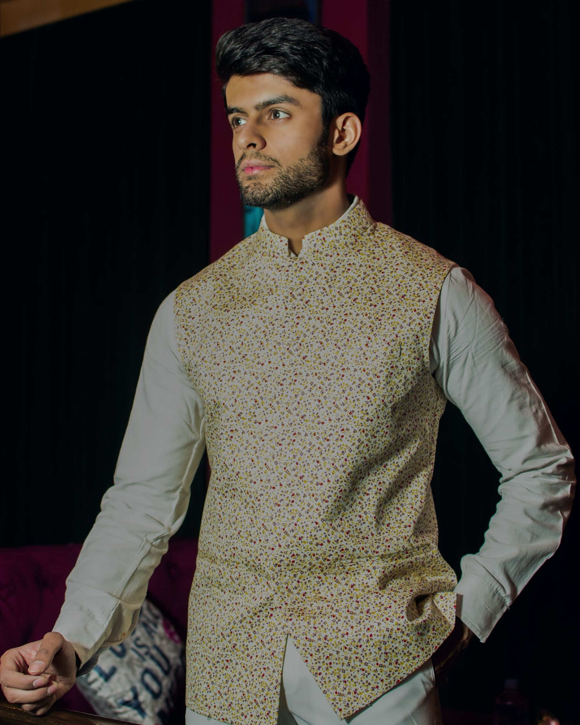 Light yellow floral printed nehru jacket