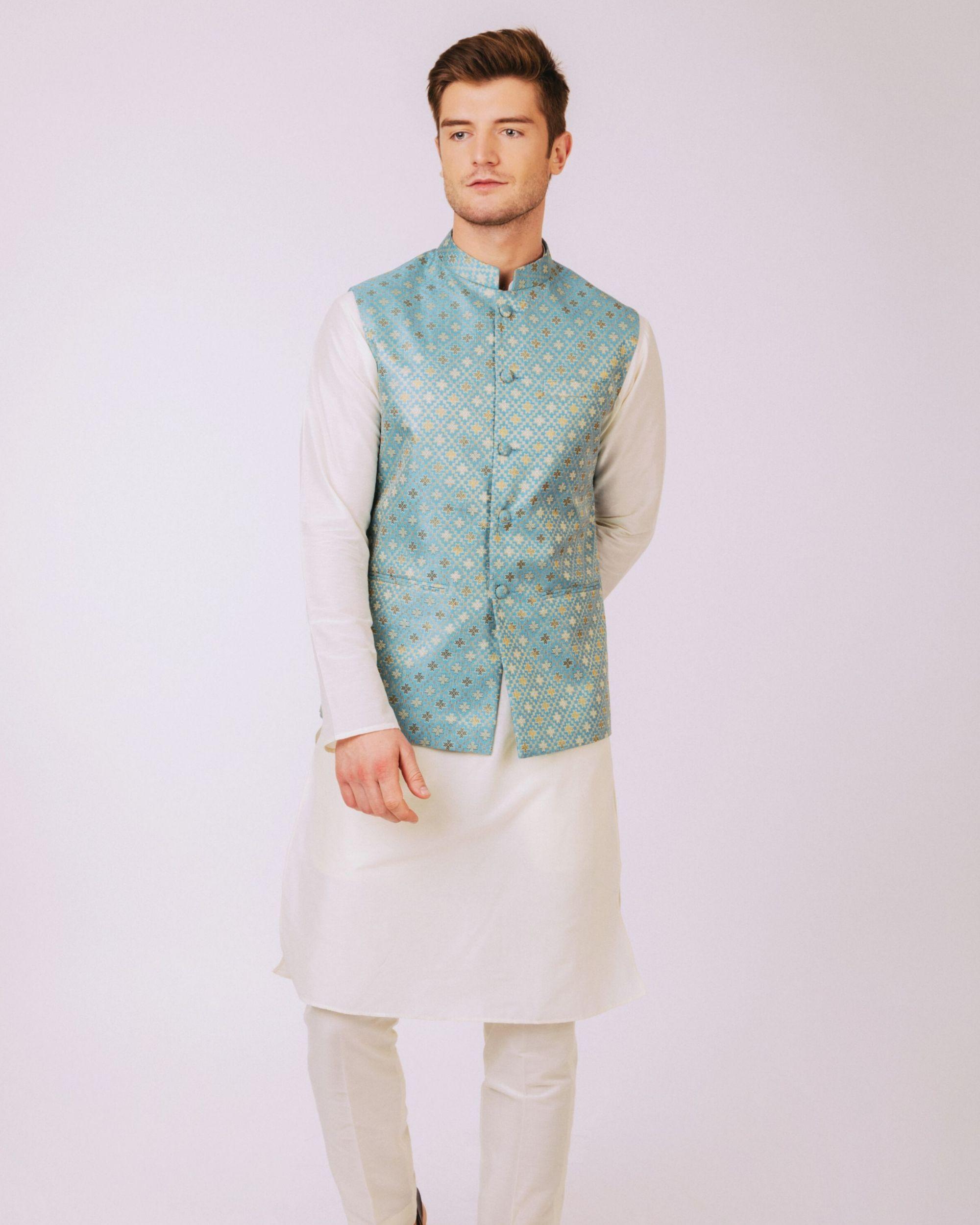 Aqua blue floral nehru jacket