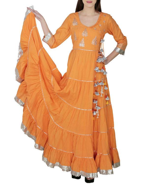 Orange angrakha with palazzo