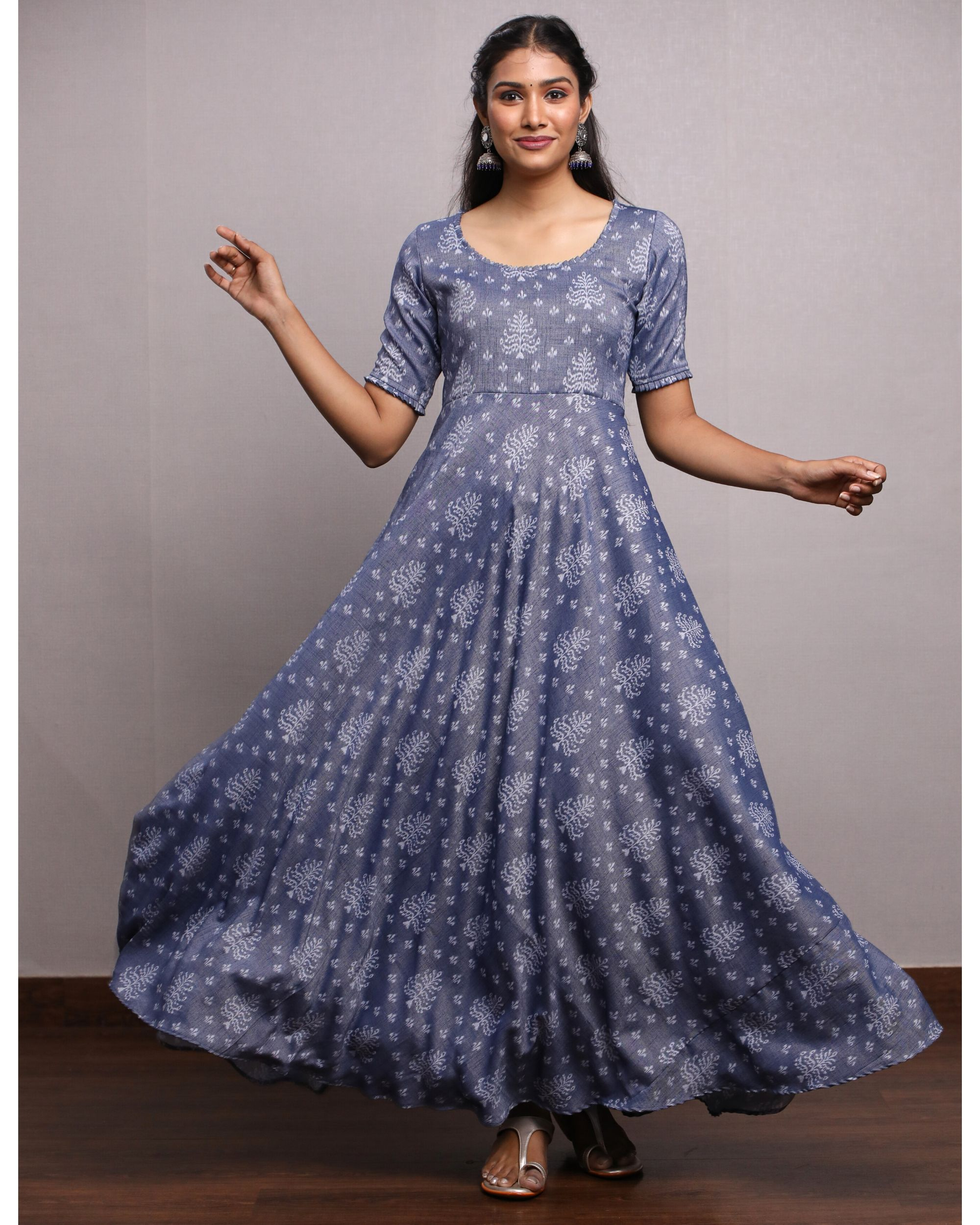 Blue printed flared maxi dress