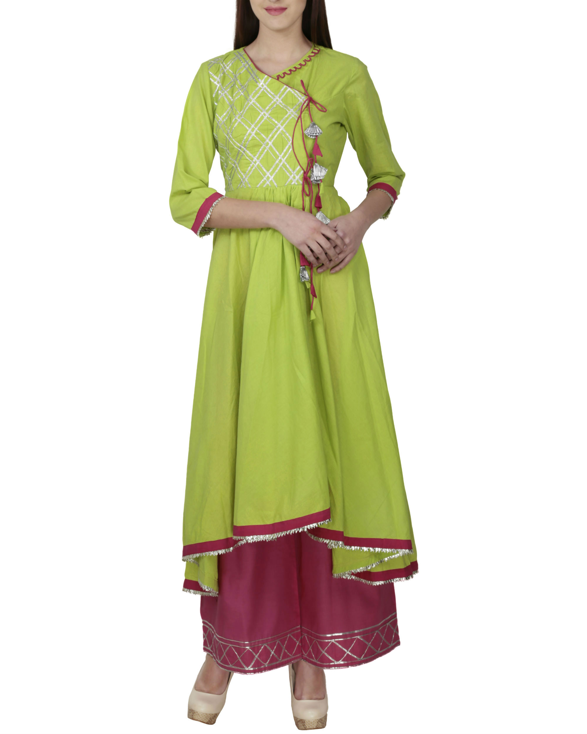 Lime green angrakha with palazzo