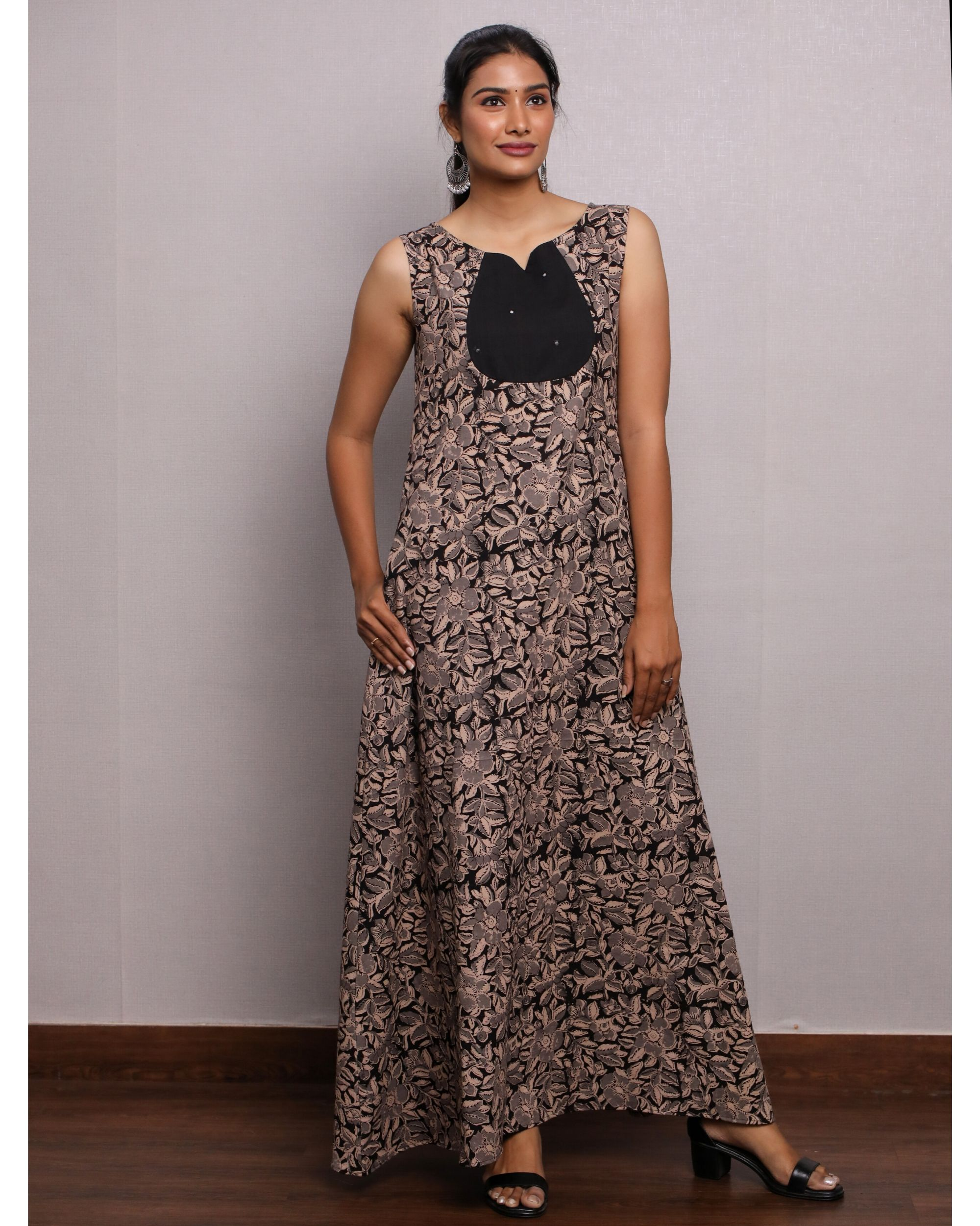 Black kalamkari leaf printed dress