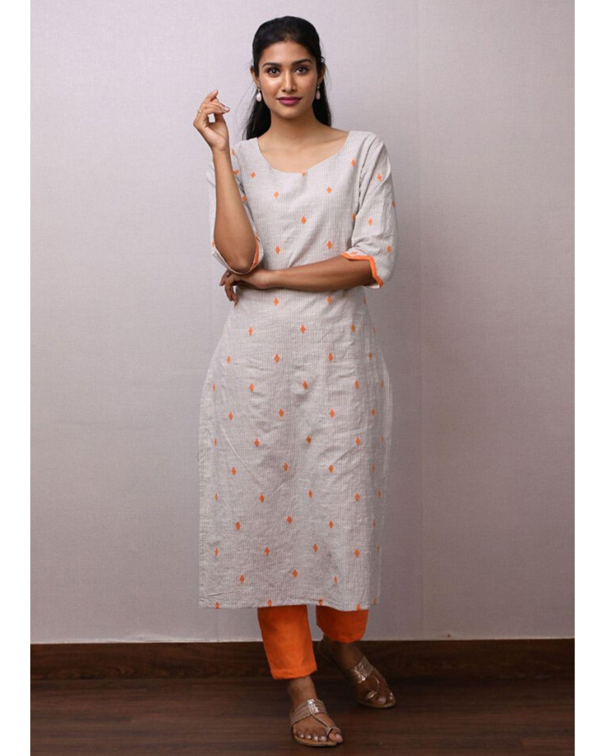 Off white and orange kurta and pants- Set Of Two