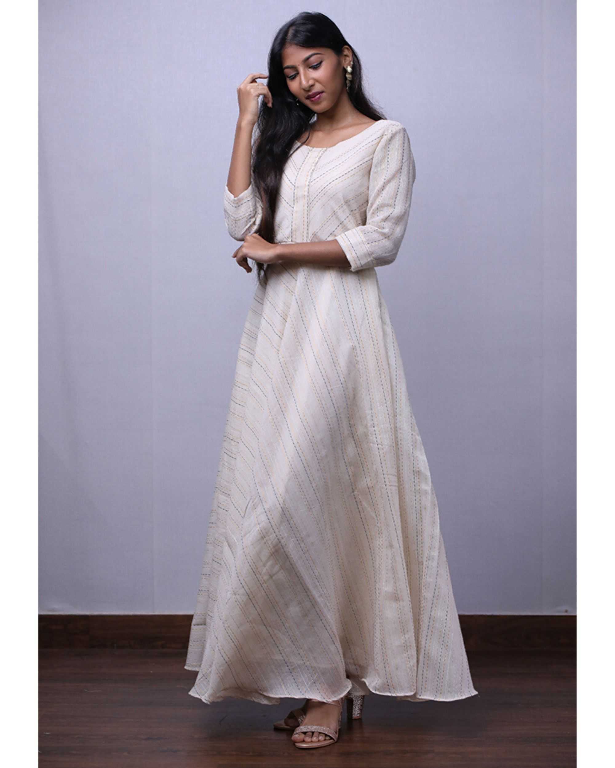 White chanderi kantha maxi dress