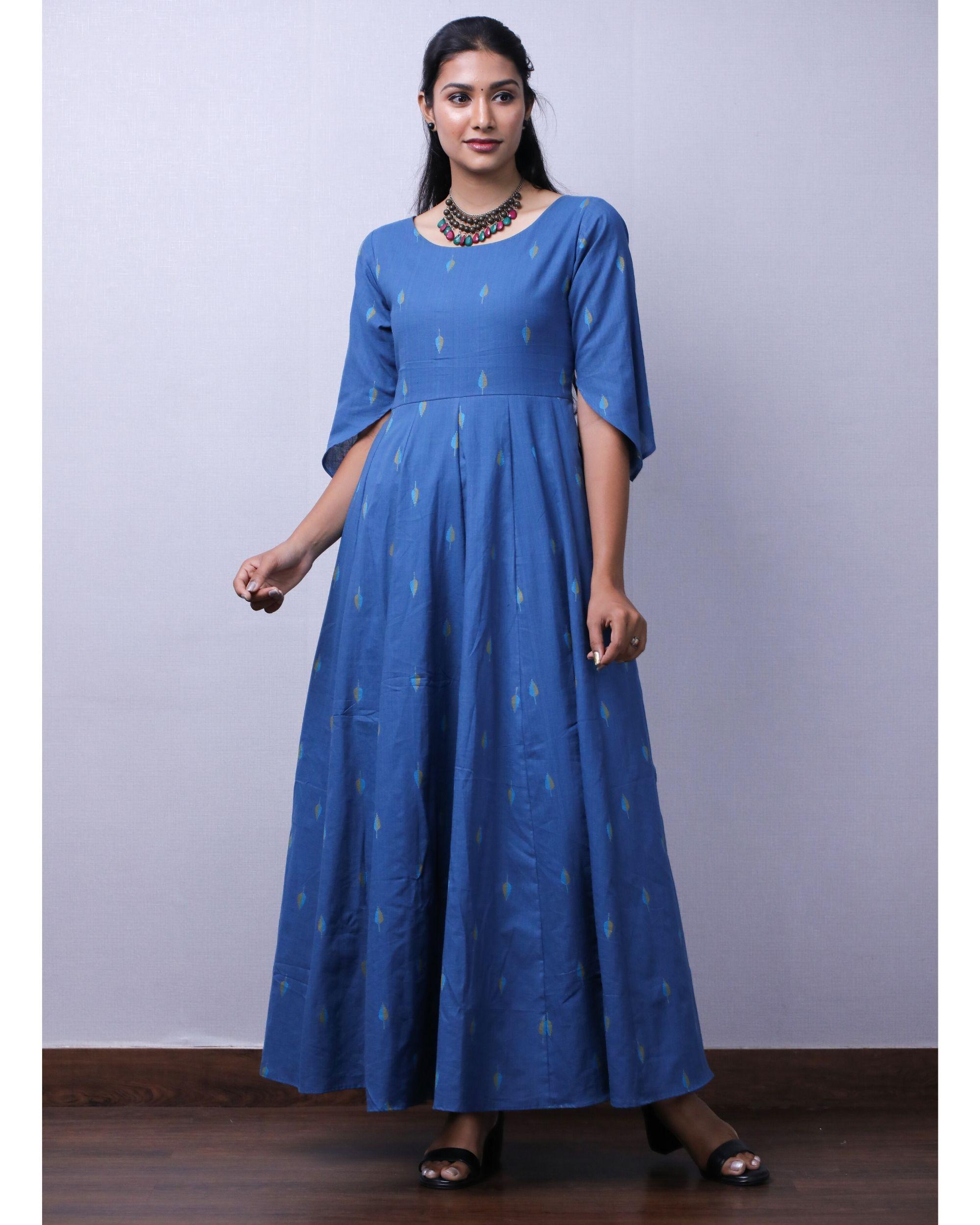 Blue jacquard printed maxi dress
