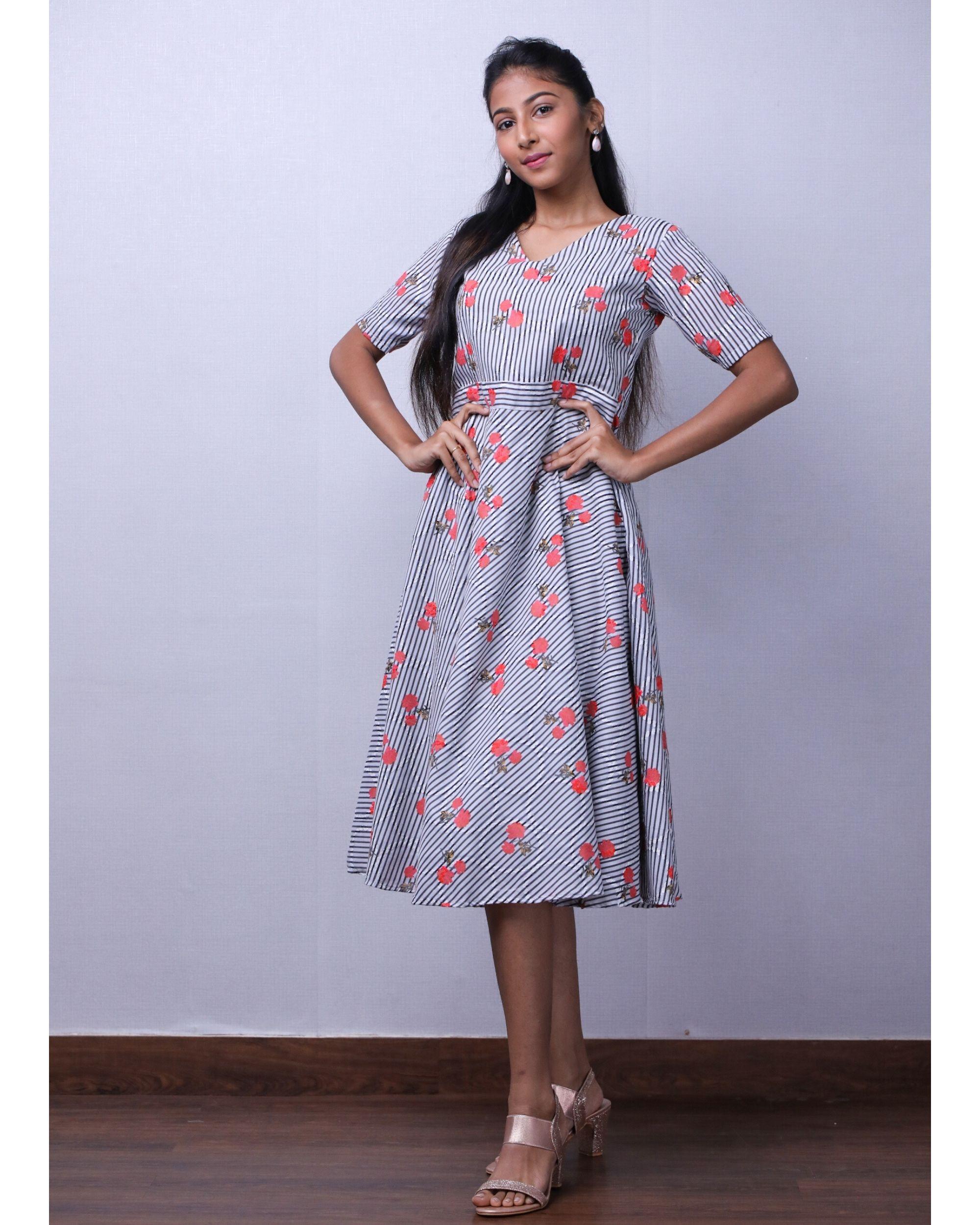 Grey floral printed stripe dress