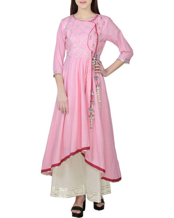 Blush pink angrakha with palazzo