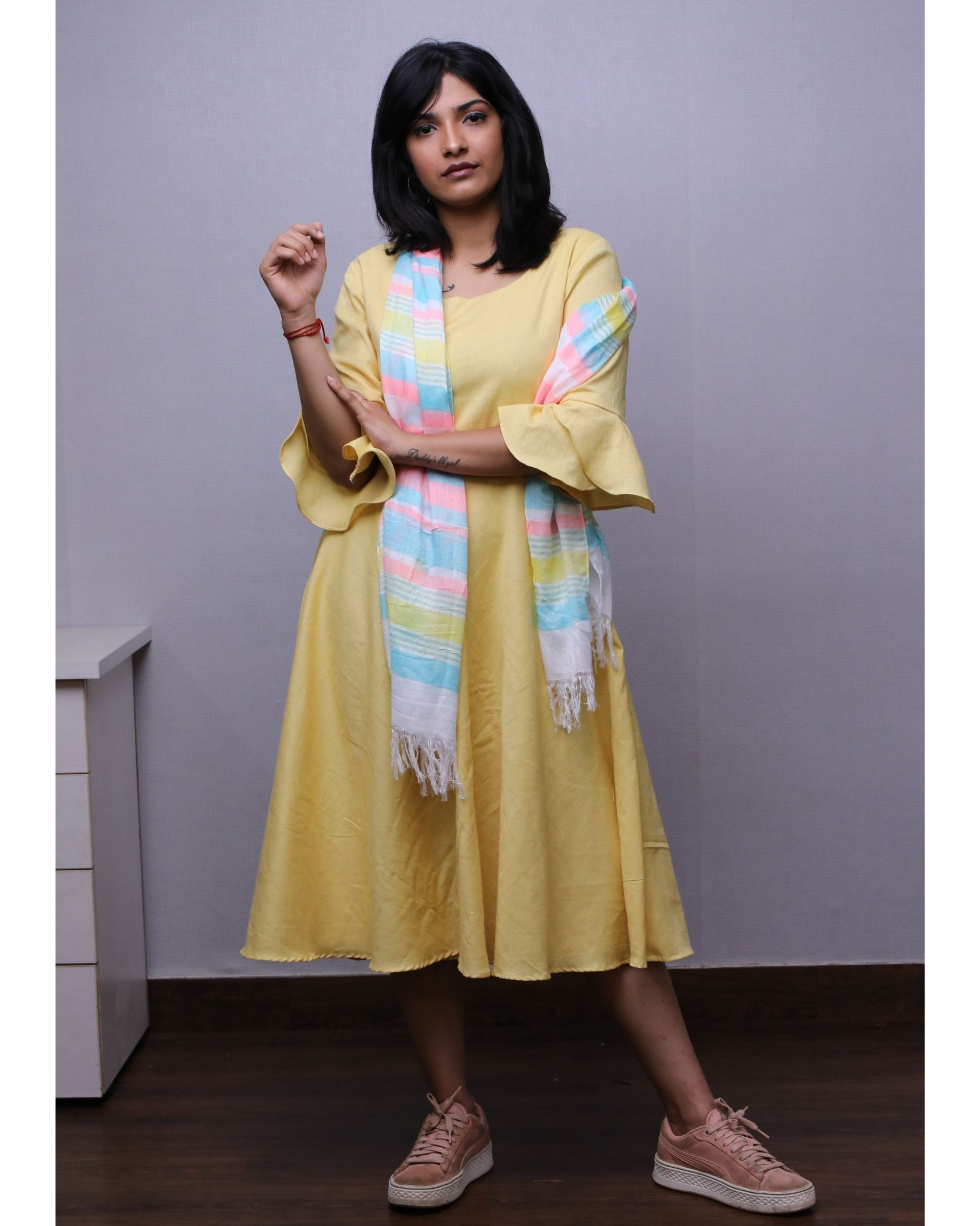 Yellow ruffled short dress with stole- Set Of Two