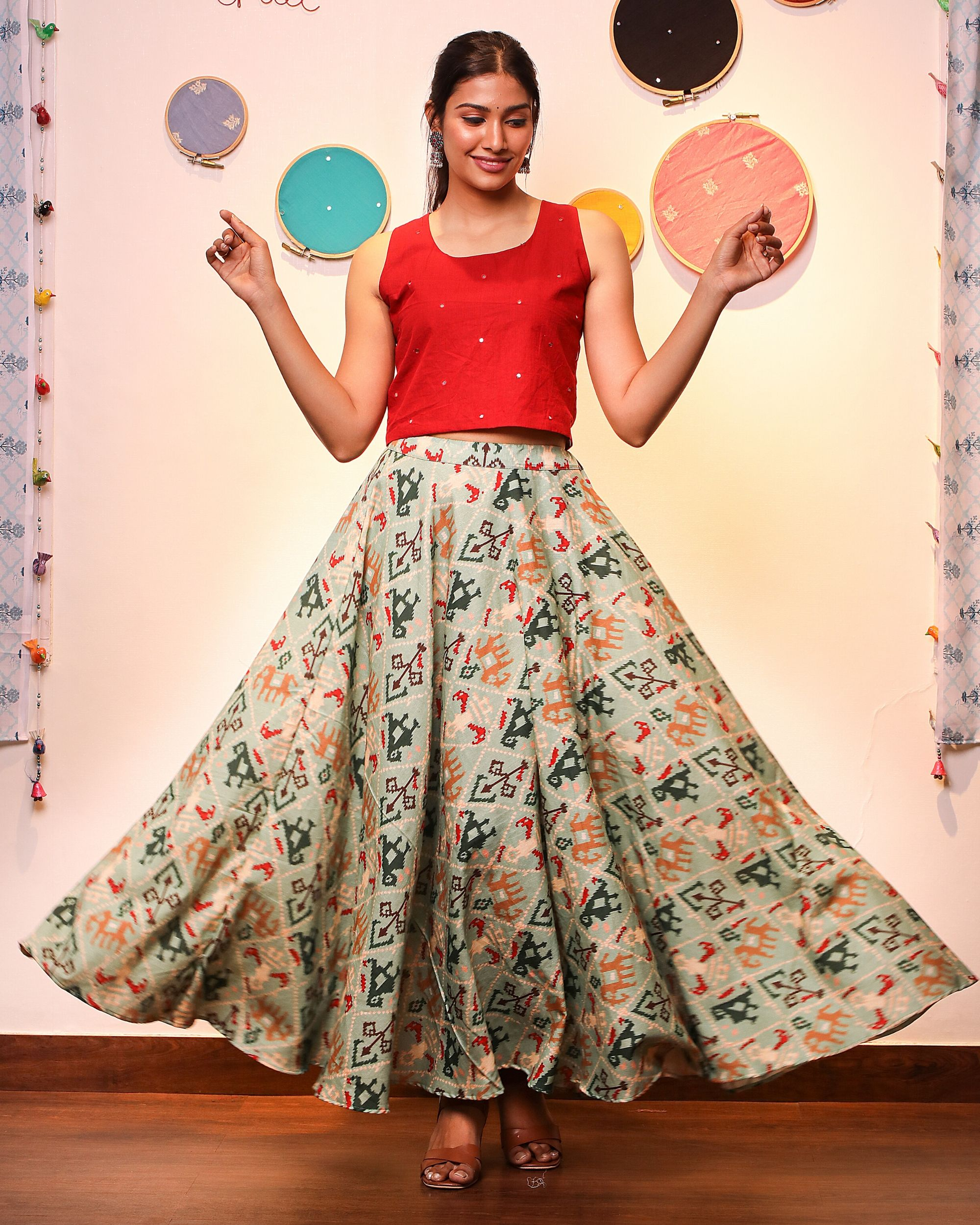 Red crop top with patola skirt- Set Of Two