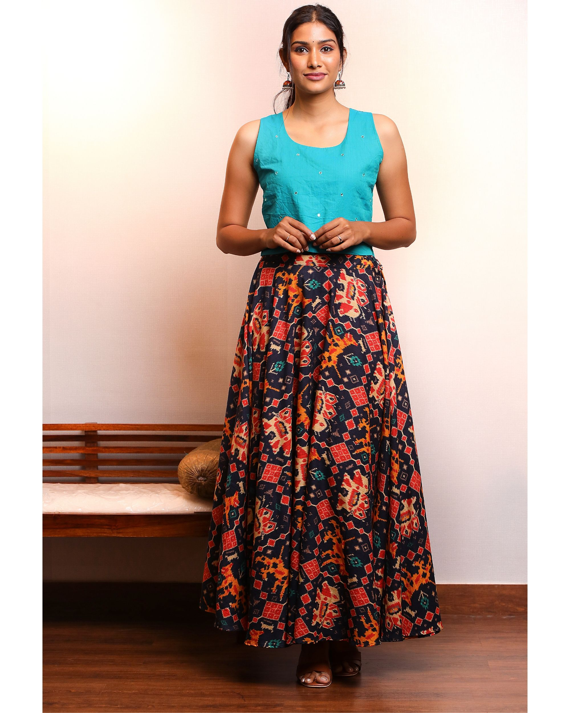 Blue crop top with patola skirt- Set Of Two