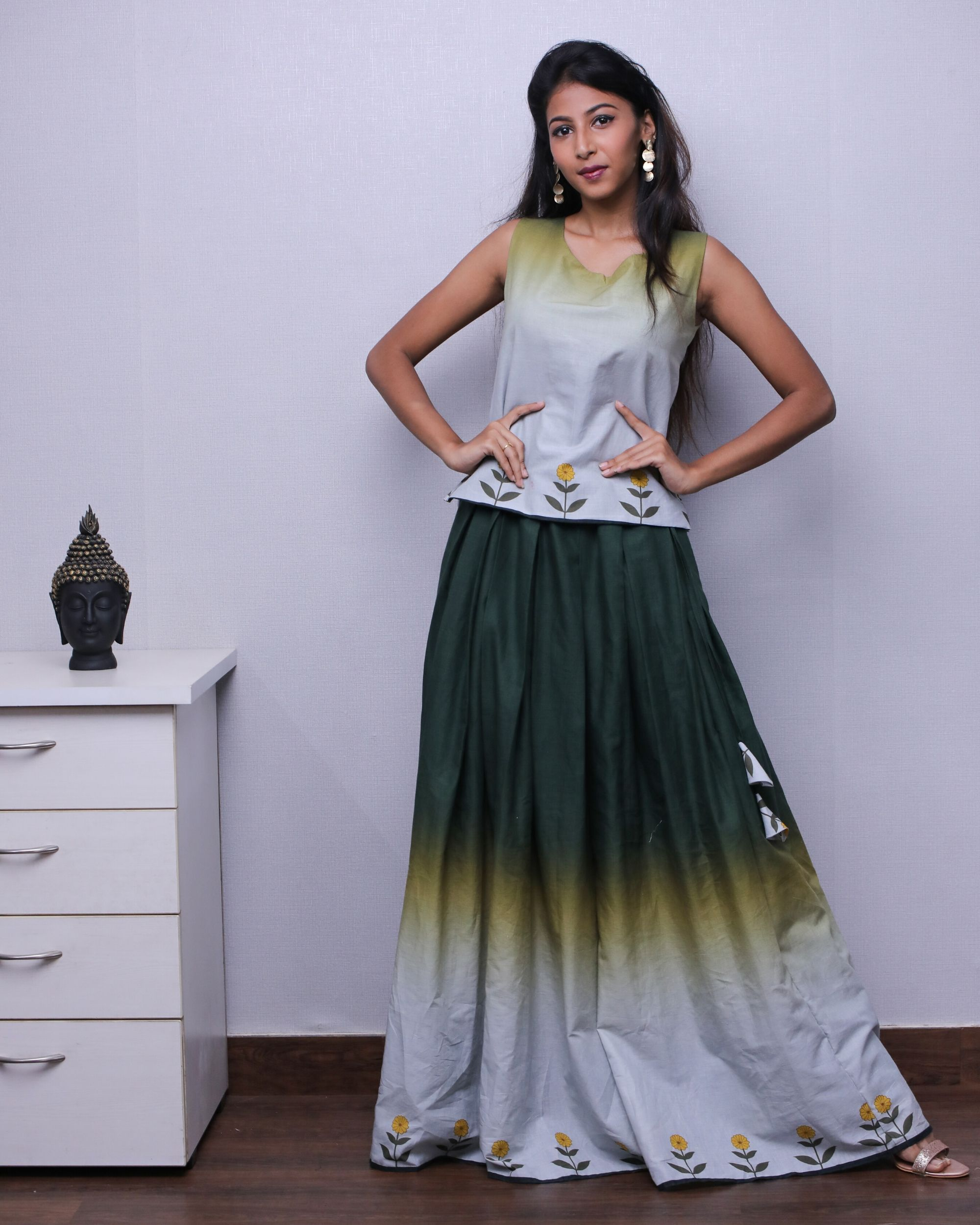 Grey and green ombre top and skirt - Set Of Two