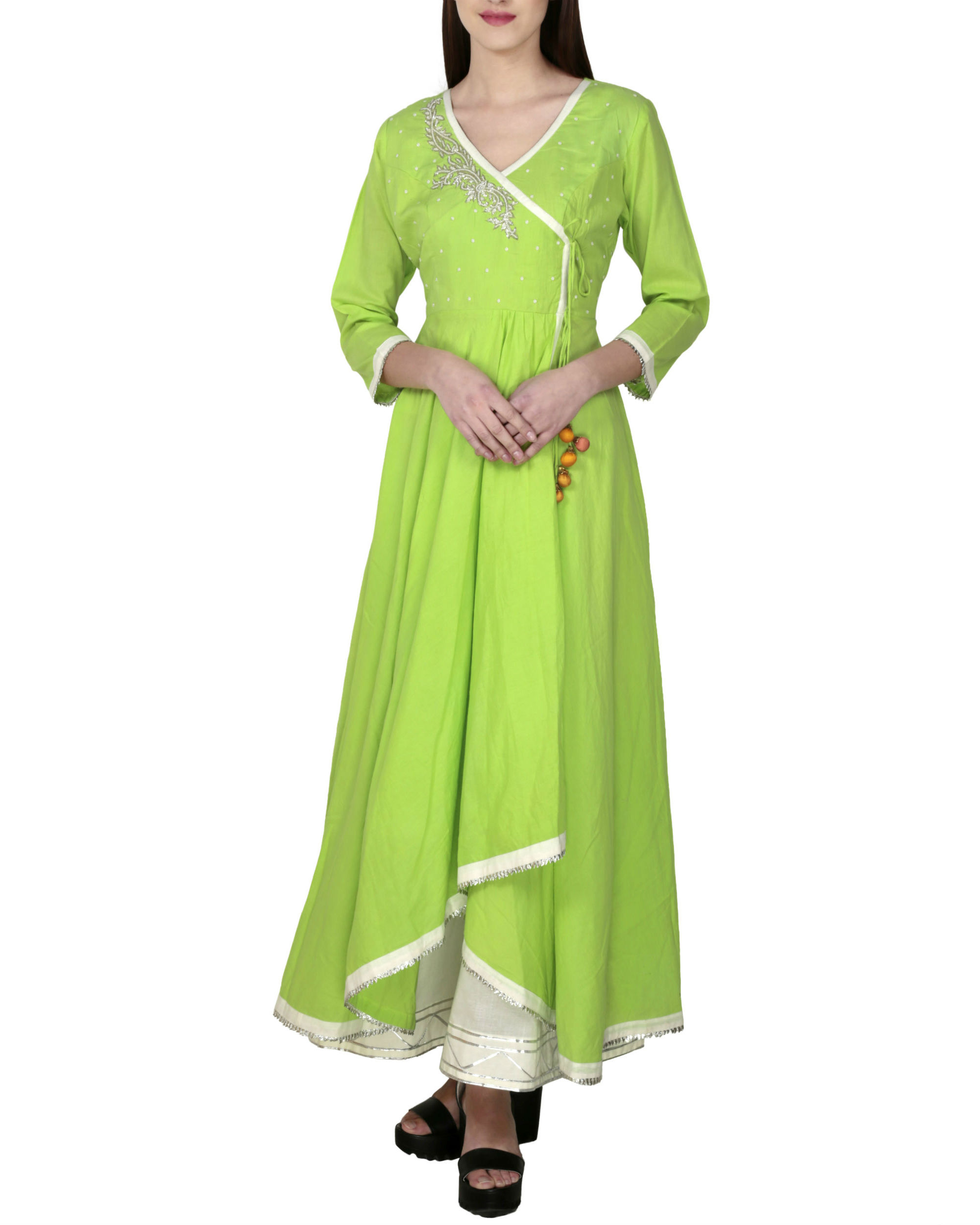 Electric lime angrakha with palazzo