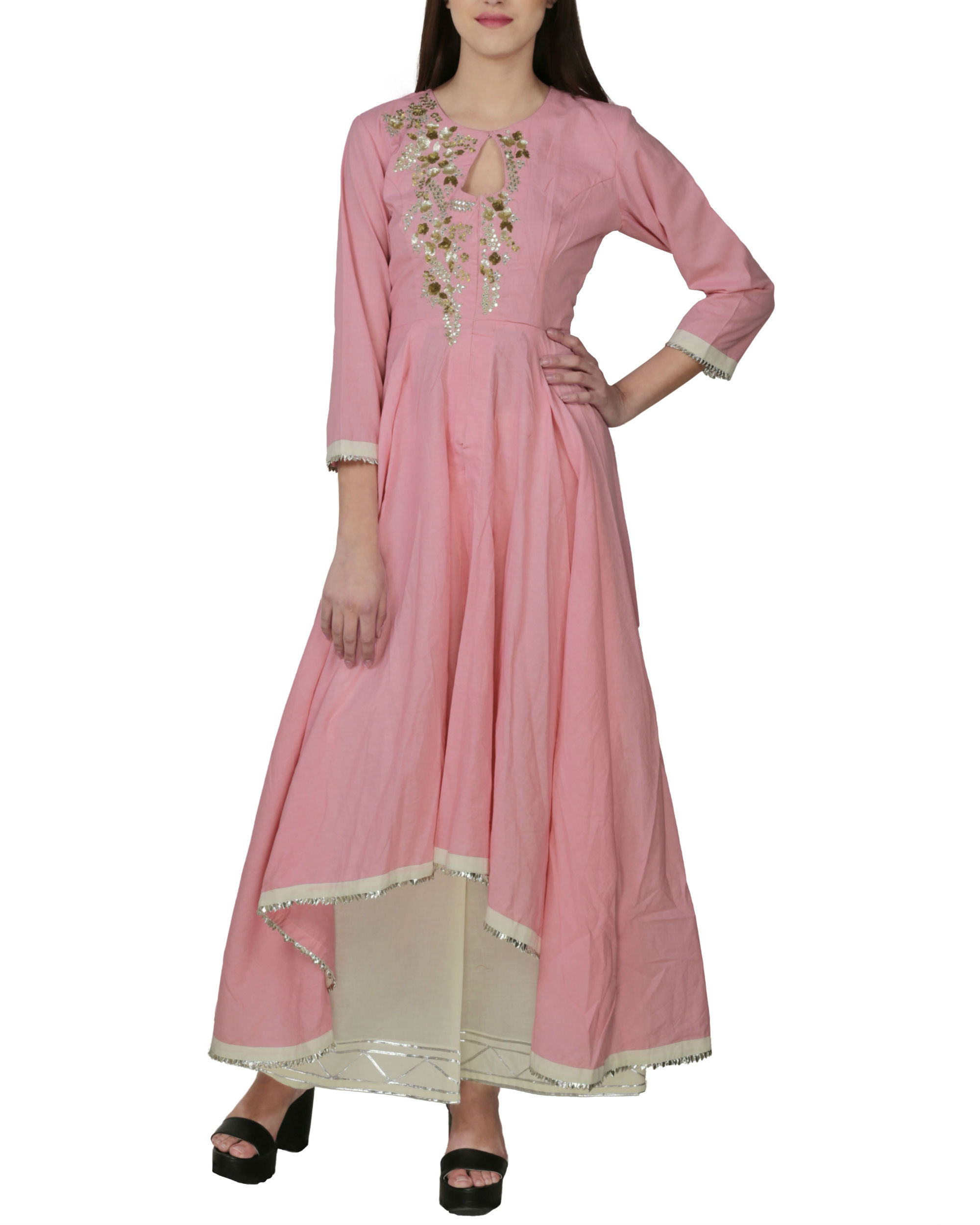 Rose pink tunic with palazzo