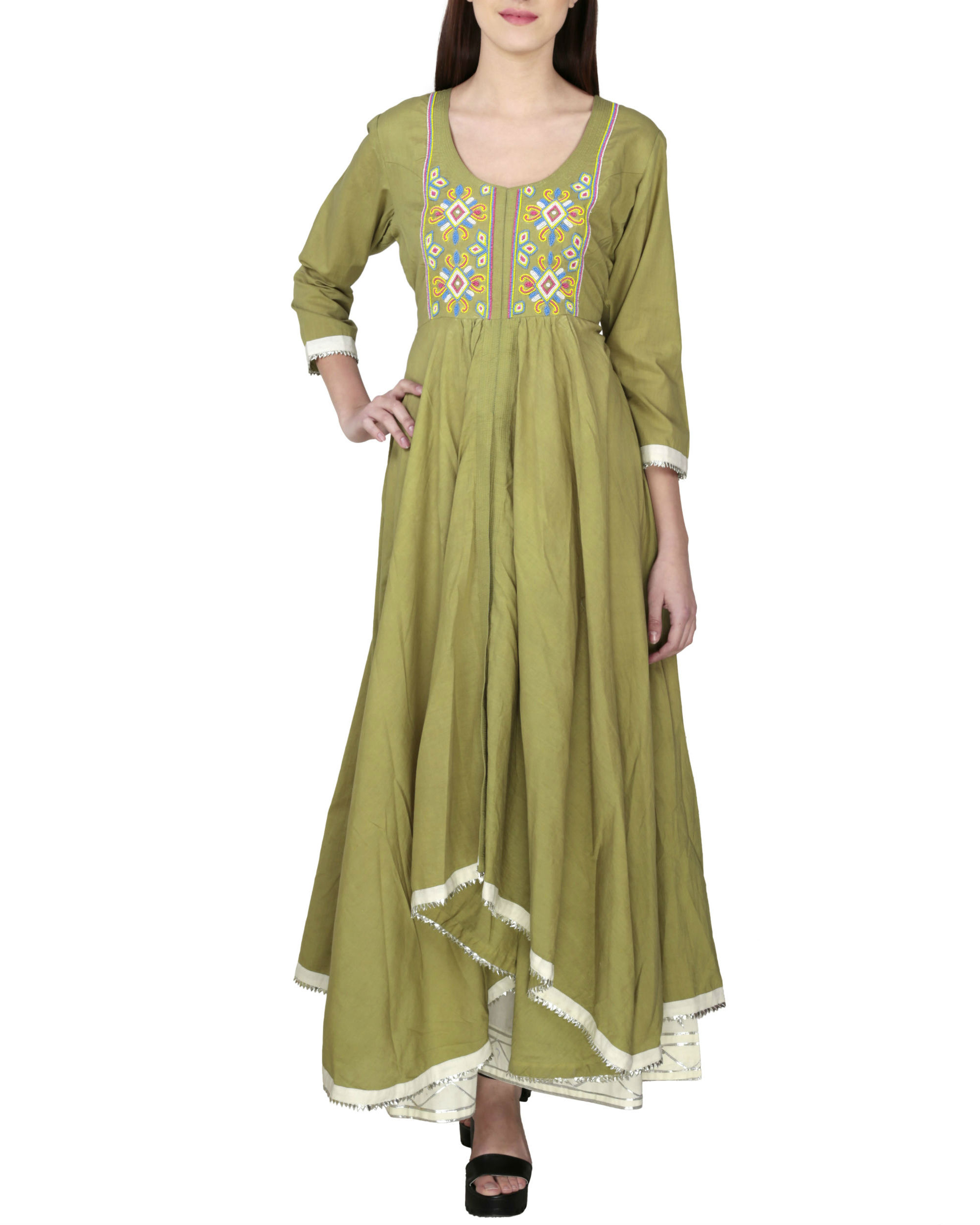 Olive green tunic with palazzo