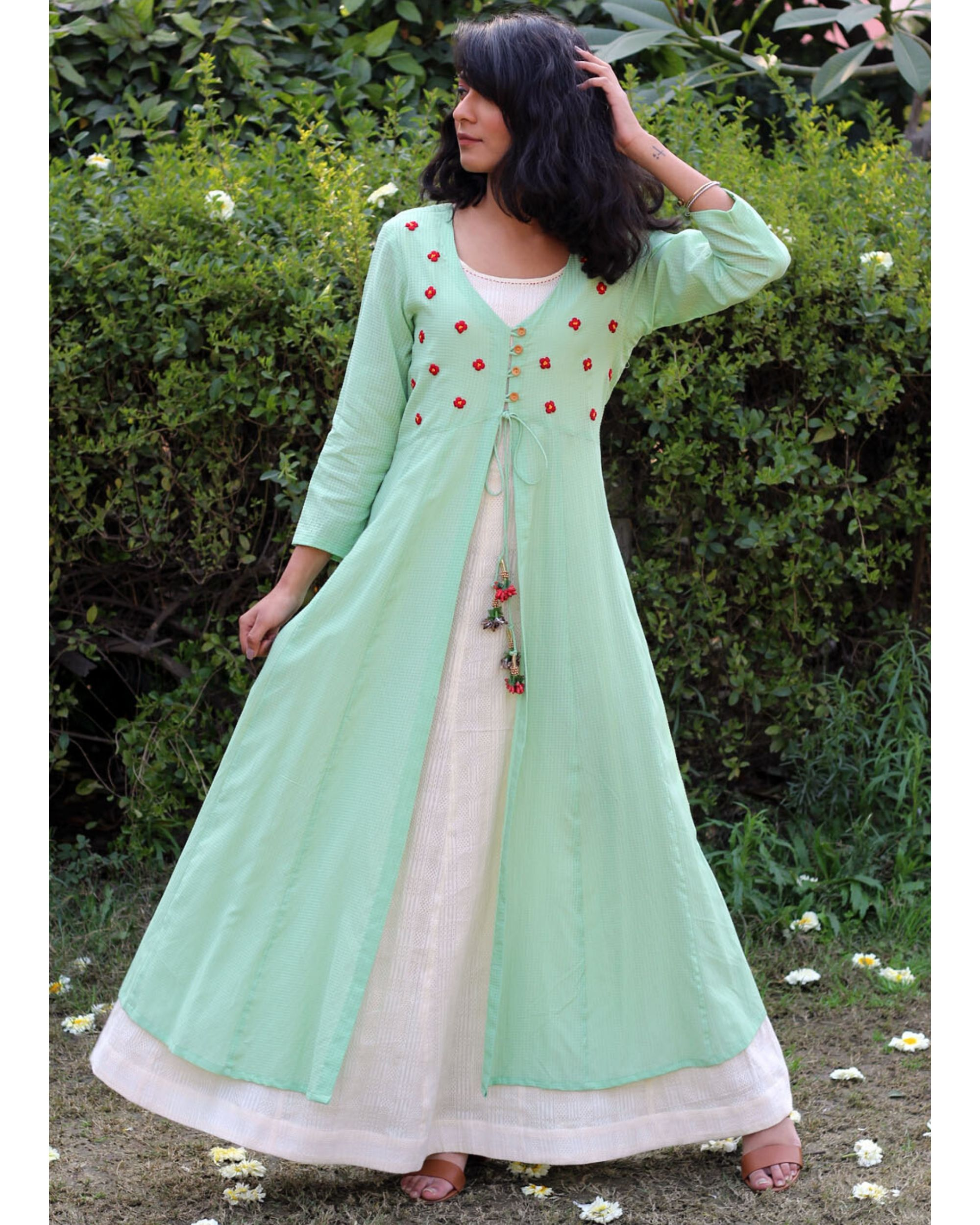 Pastel green floral cover-up and flared dress- Set Of Two