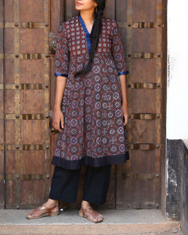 Maroon and indigo ajrakh printed tunic