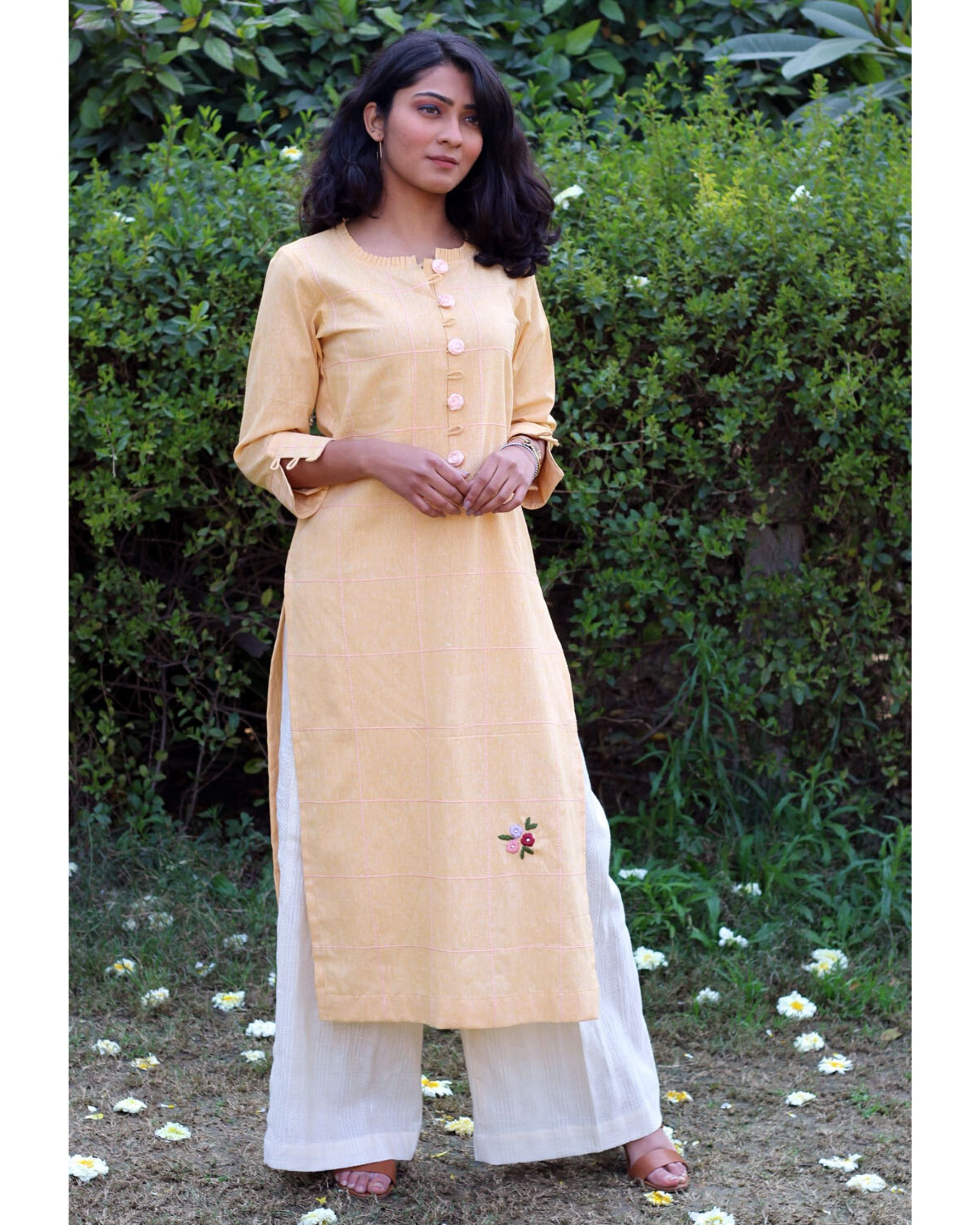 Yellow embroidered kurta and palazzo- Set Of Two