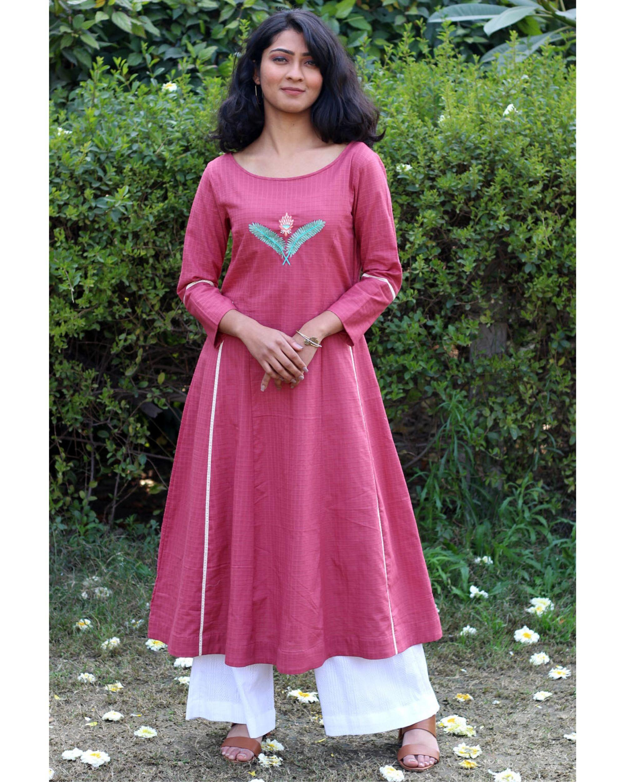 Pink embroidered kurta and palazzo- Set Of Two