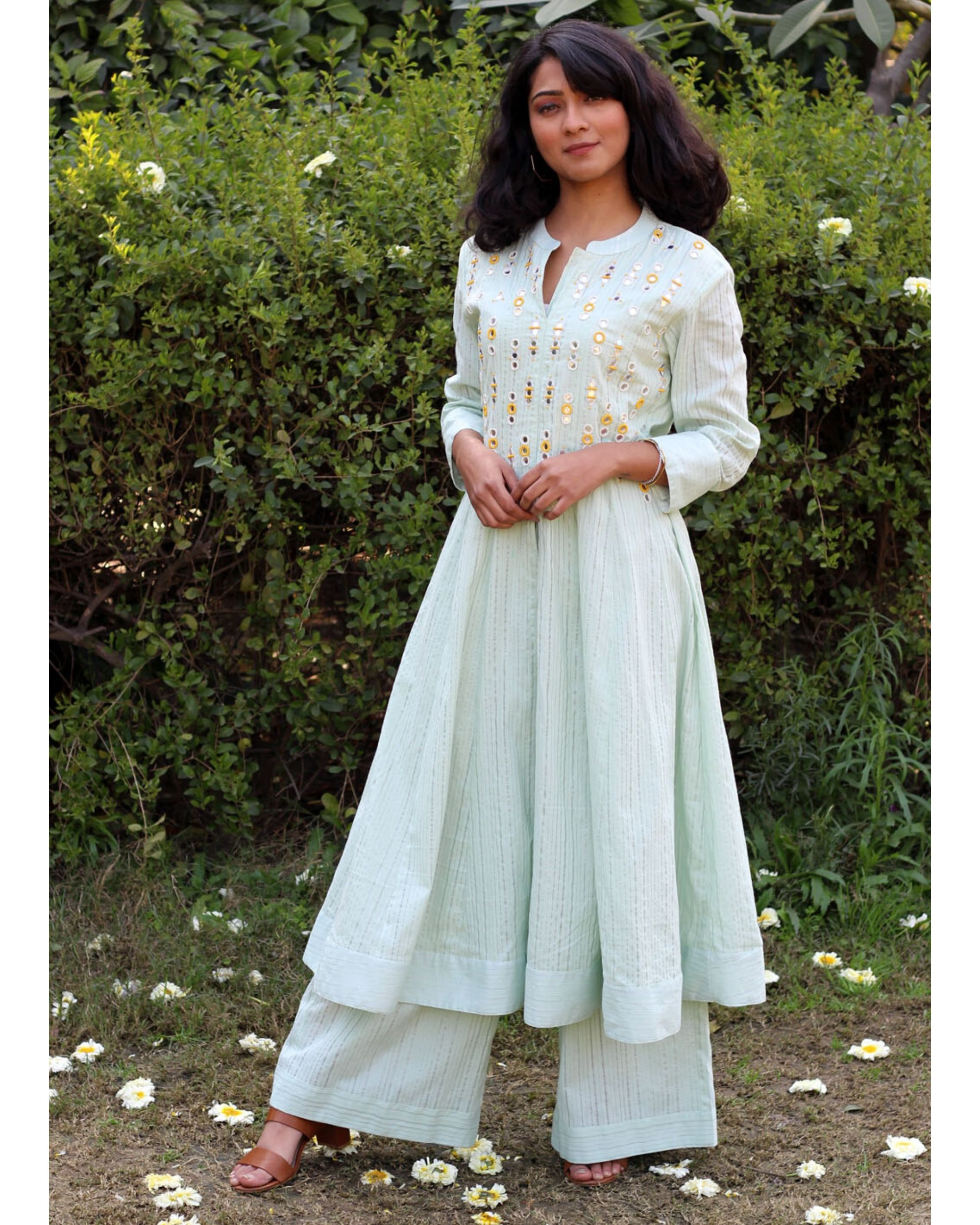 Green embroidered cape kurta and palazzo- Set Of Two