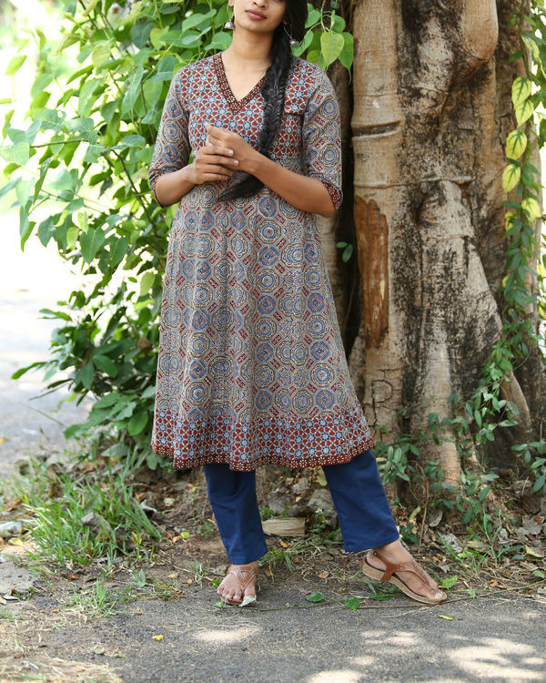 Rust and indigo ajrakh printed tunic