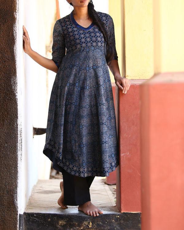 Indigo and black ajrakh printed tunic