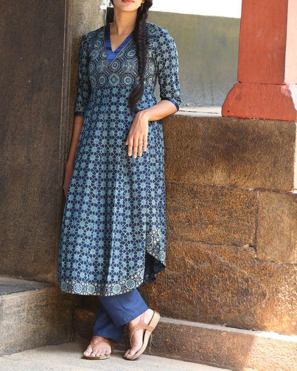 Indigo ajrakh printed tunic