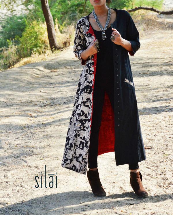 Black kalamkari jacket style tunic