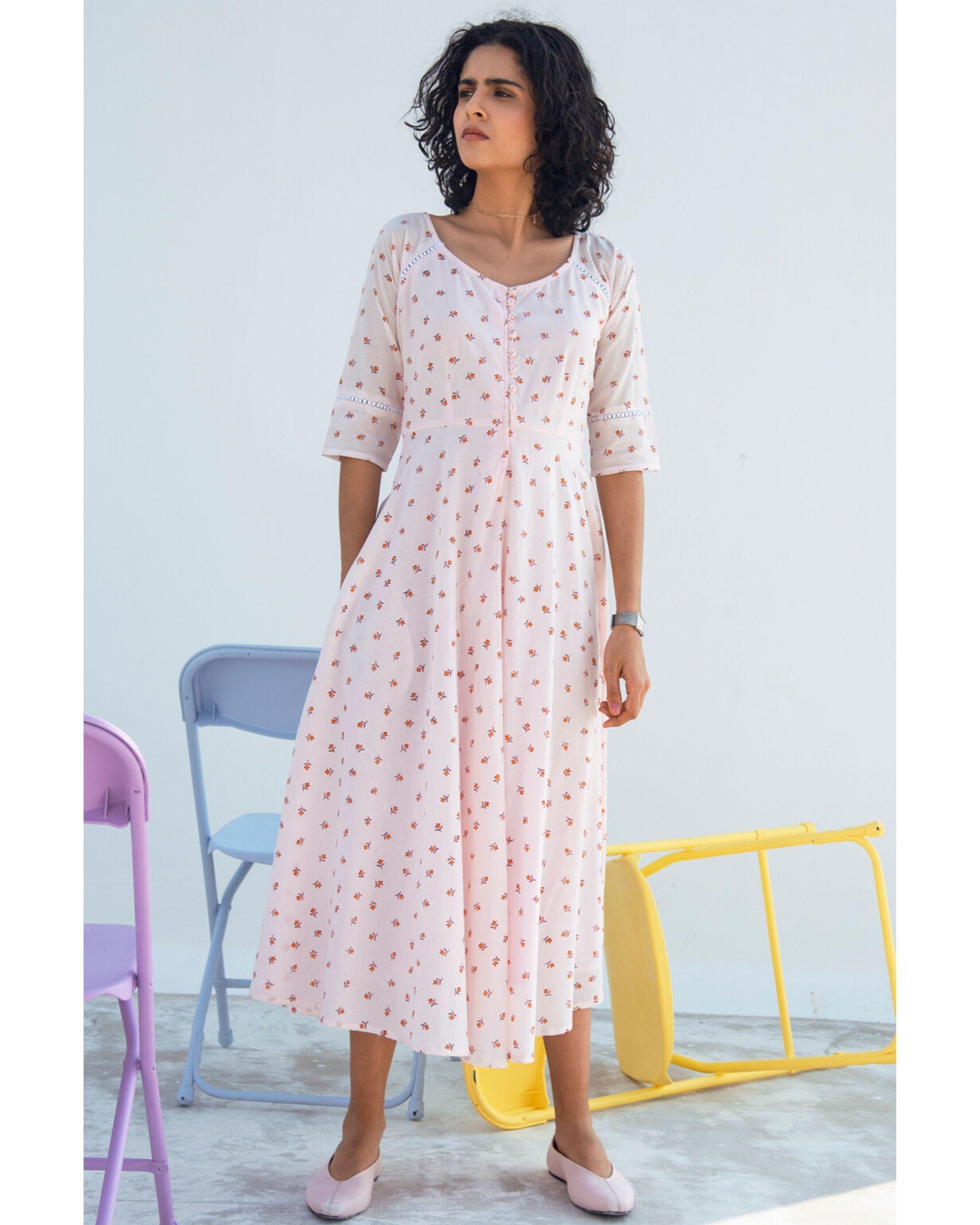 Light pink printed gathered dress