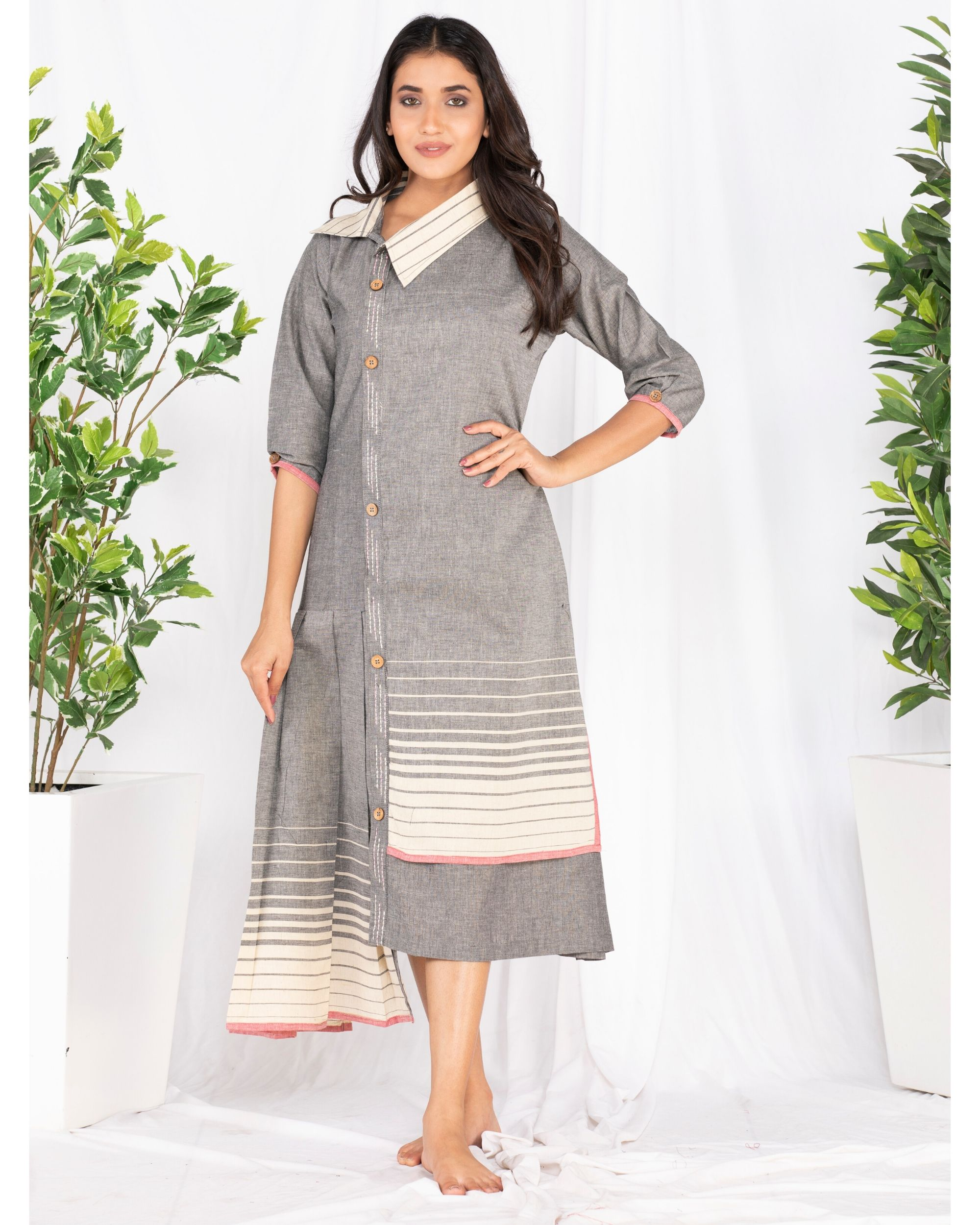 Grey asymmetrical pleated dress