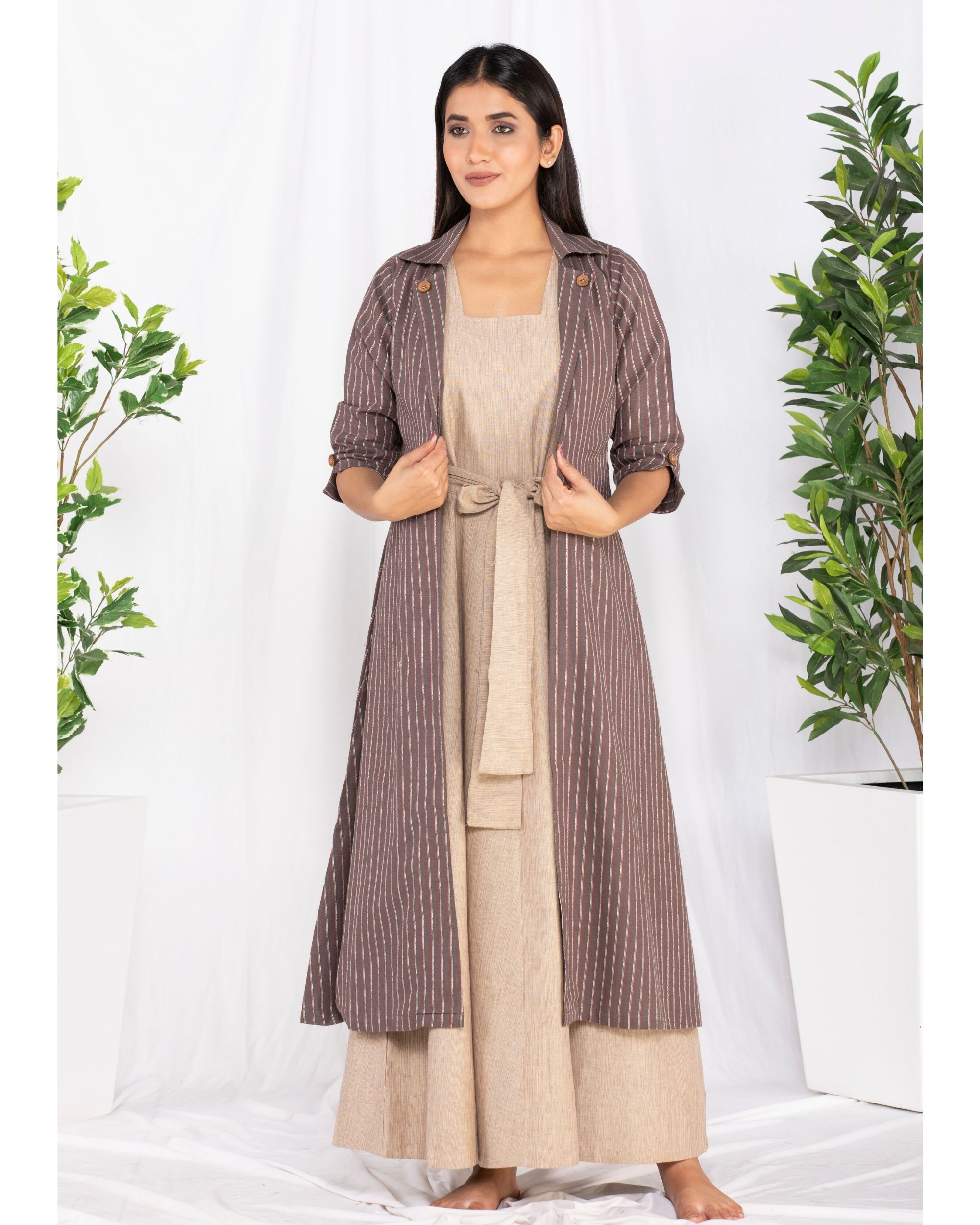 Beige and brown striped front open jacket and knotty dress- Set Of Two