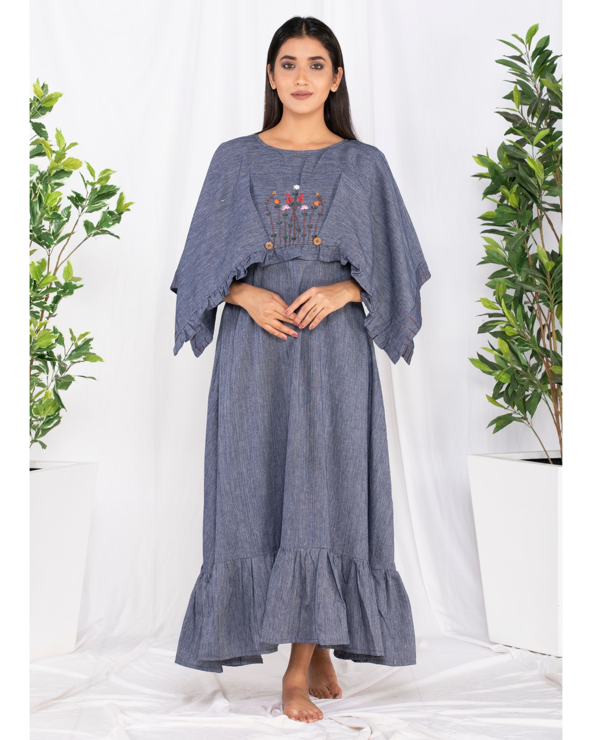 Blue forest embroidered cape dress