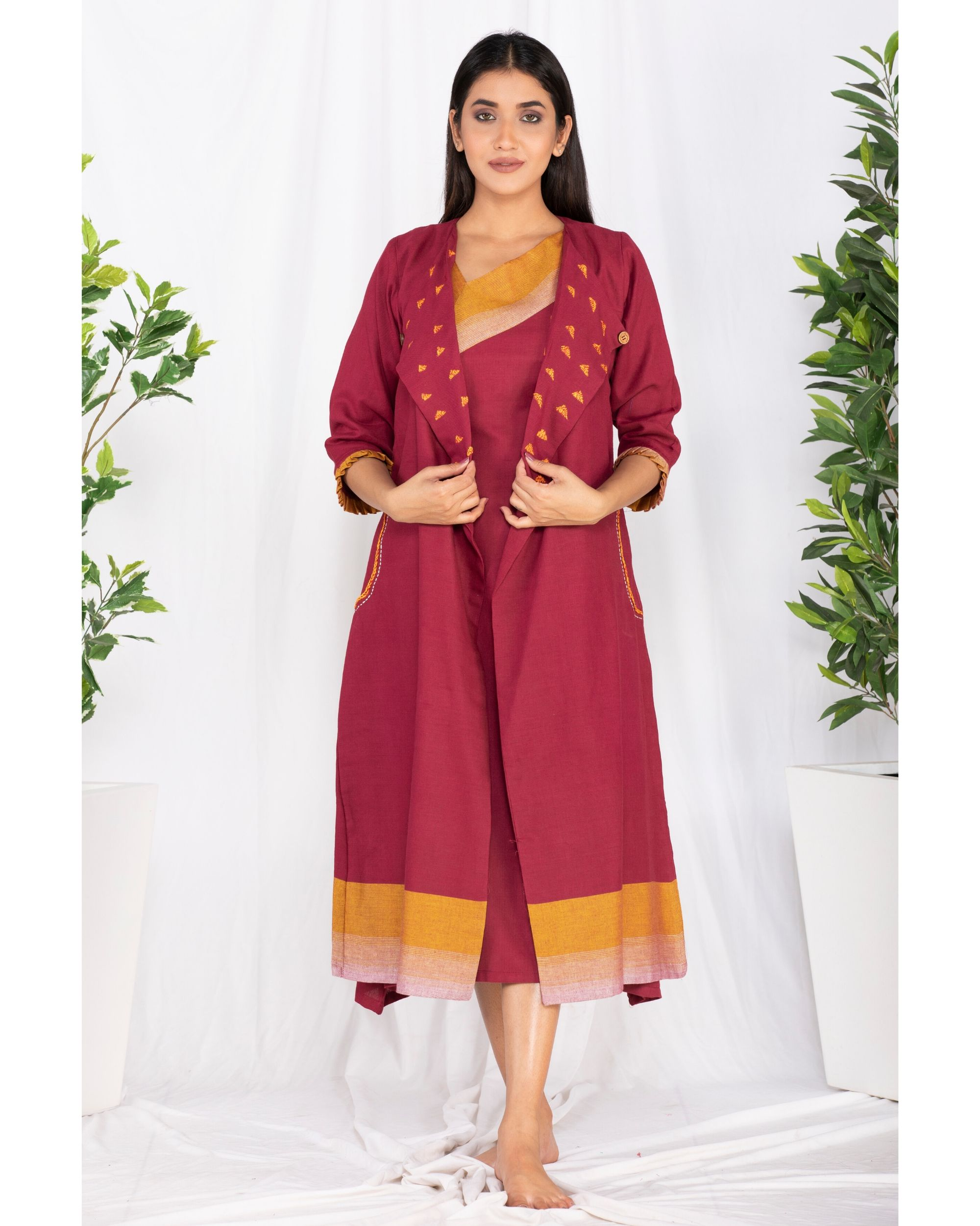 Maroon embroidered jacket and yoke dress- Set Of Two