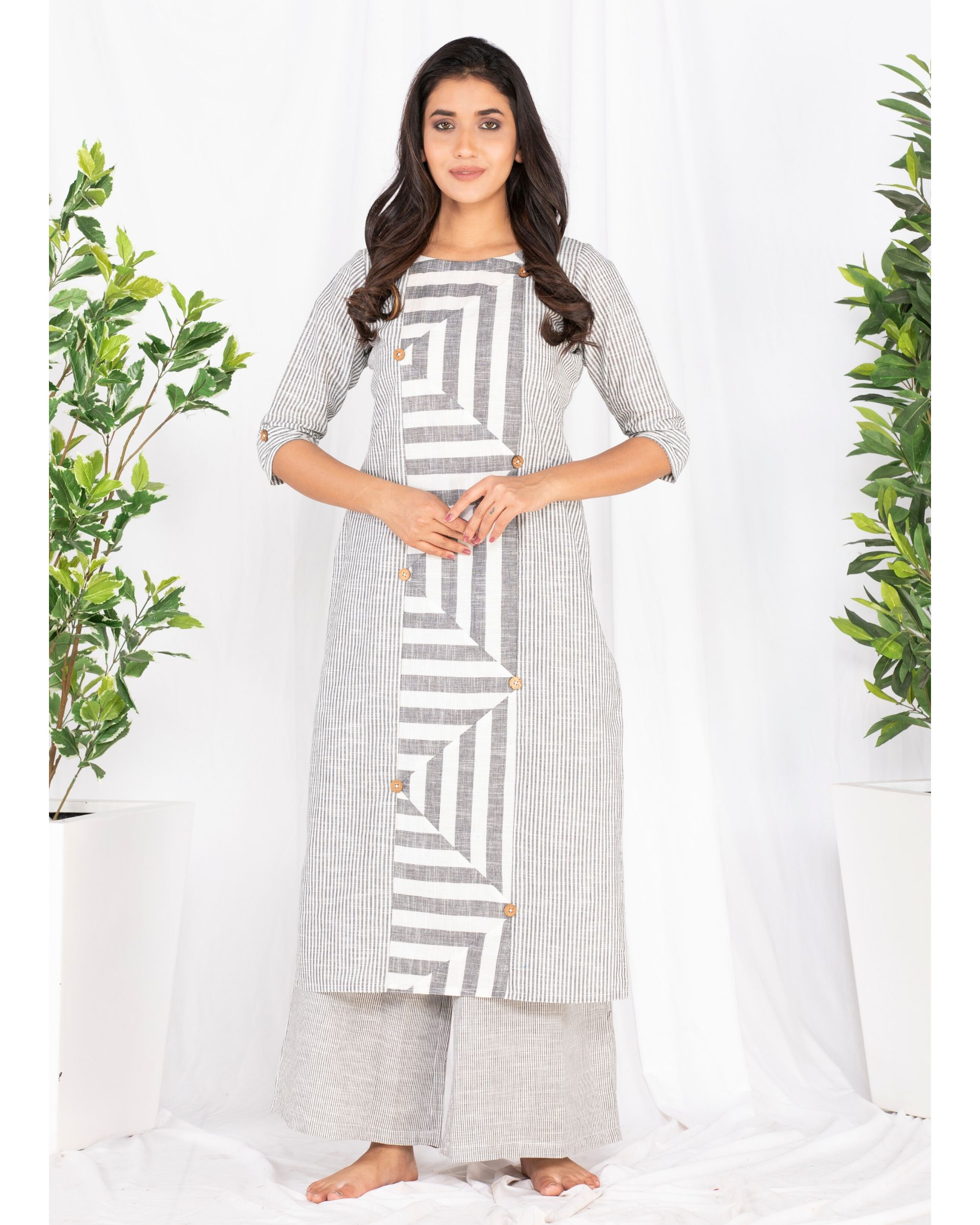 Grey and white striped kurta