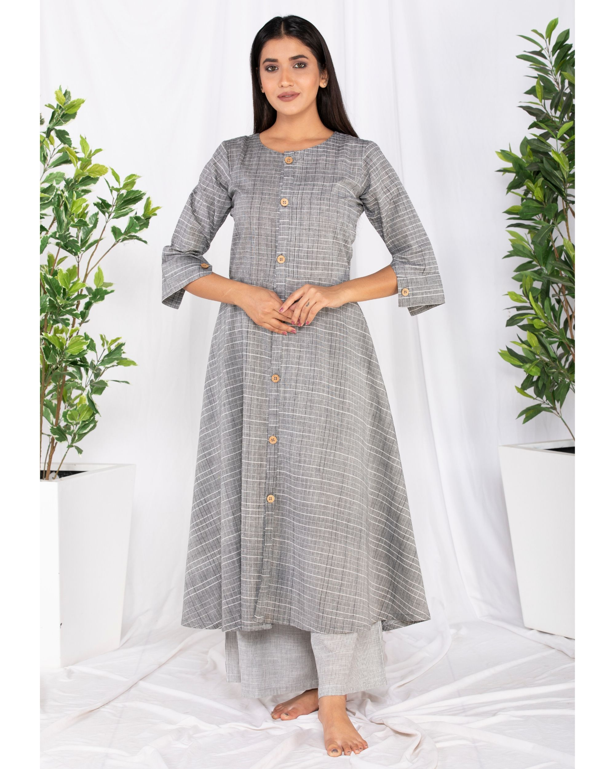 Grey buttoned kurta and palazzo set- Set Of Two