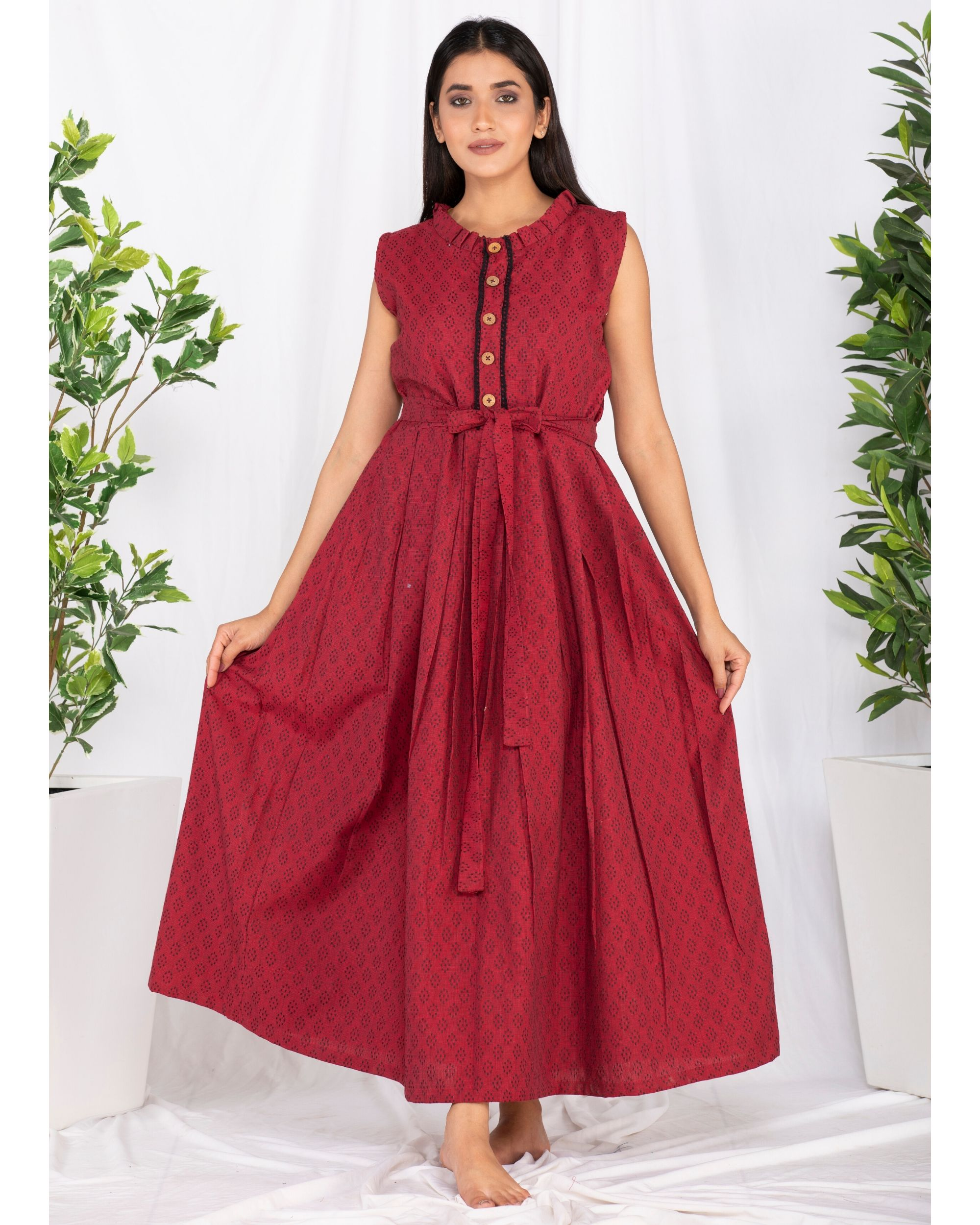 Red buttoned tie-up maxi dress